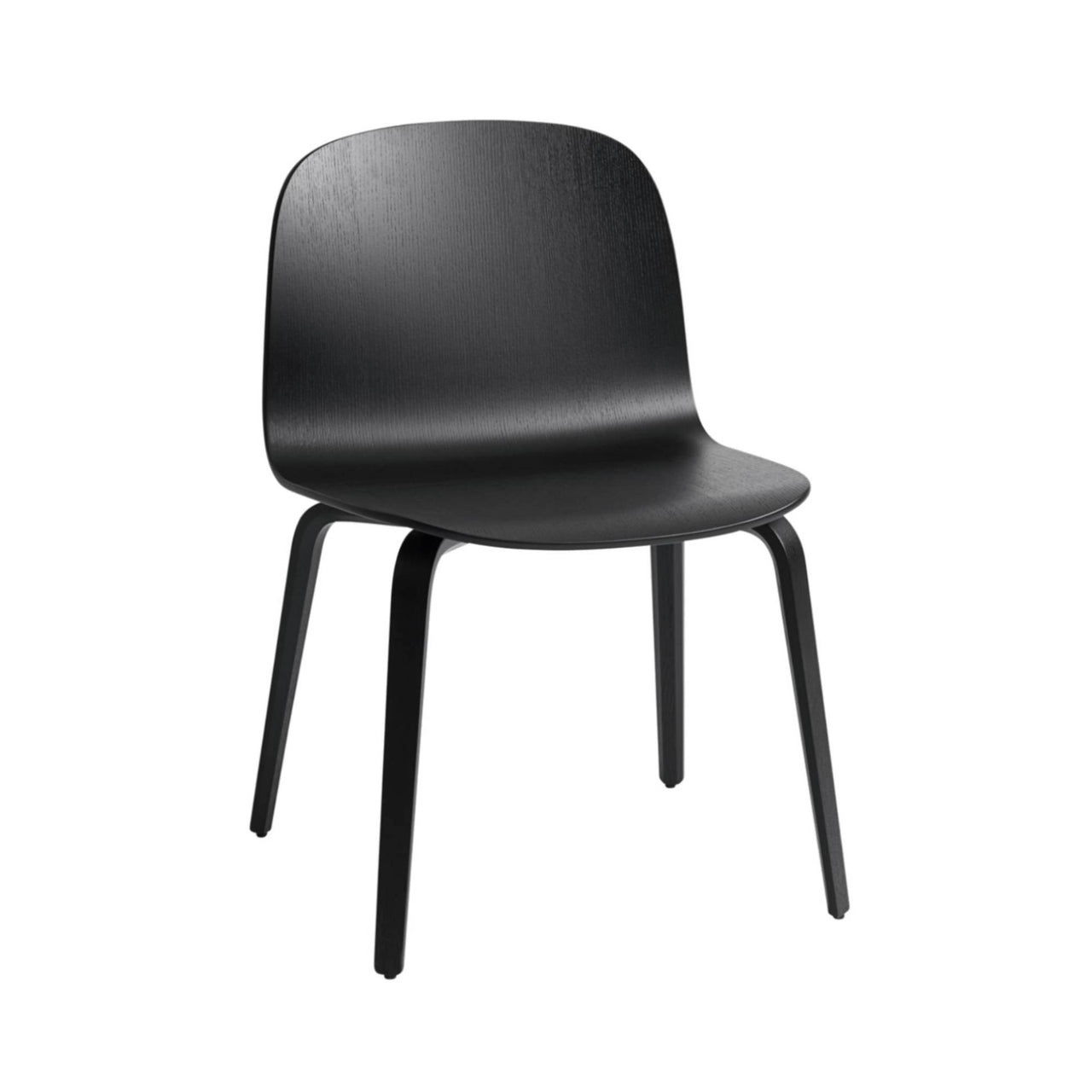 Visu Wide Chair Wood Base: Black