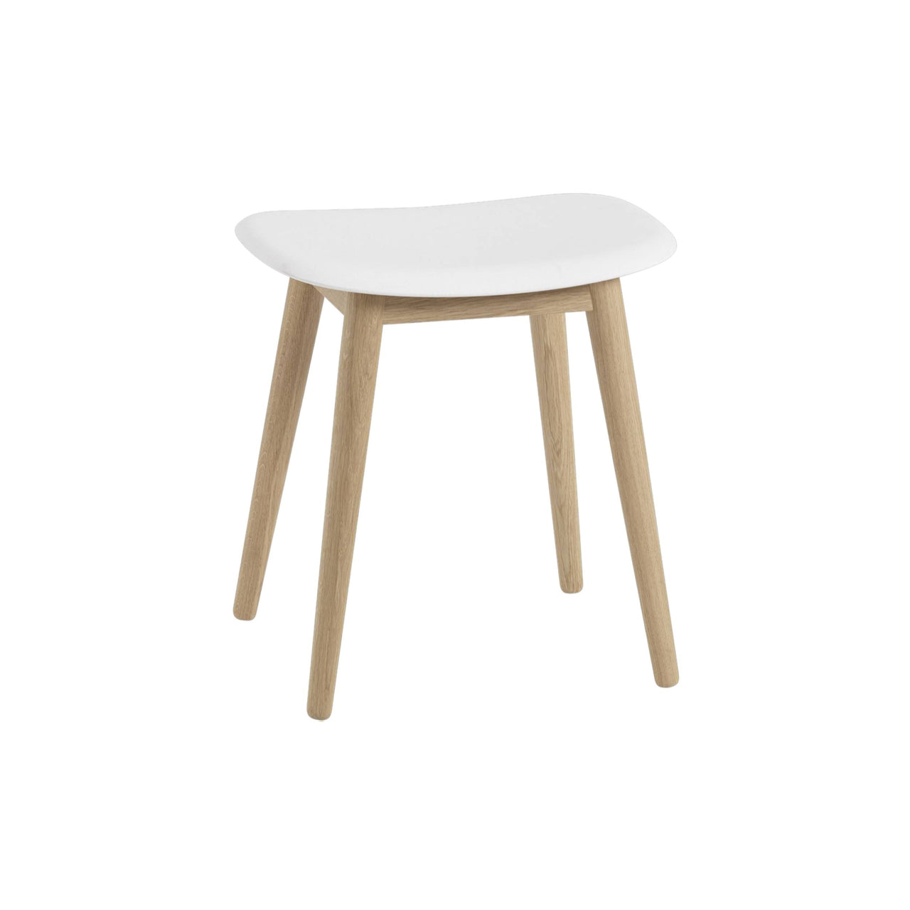Fiber Stool: Wood Base Upholstered