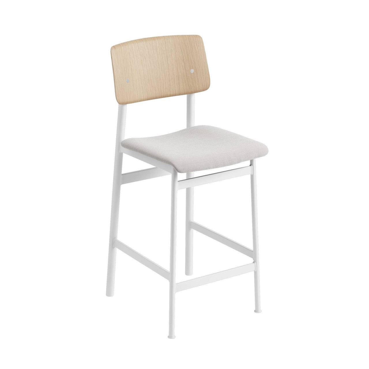 Loft Counter Stool Upholstered: White Base + Oak