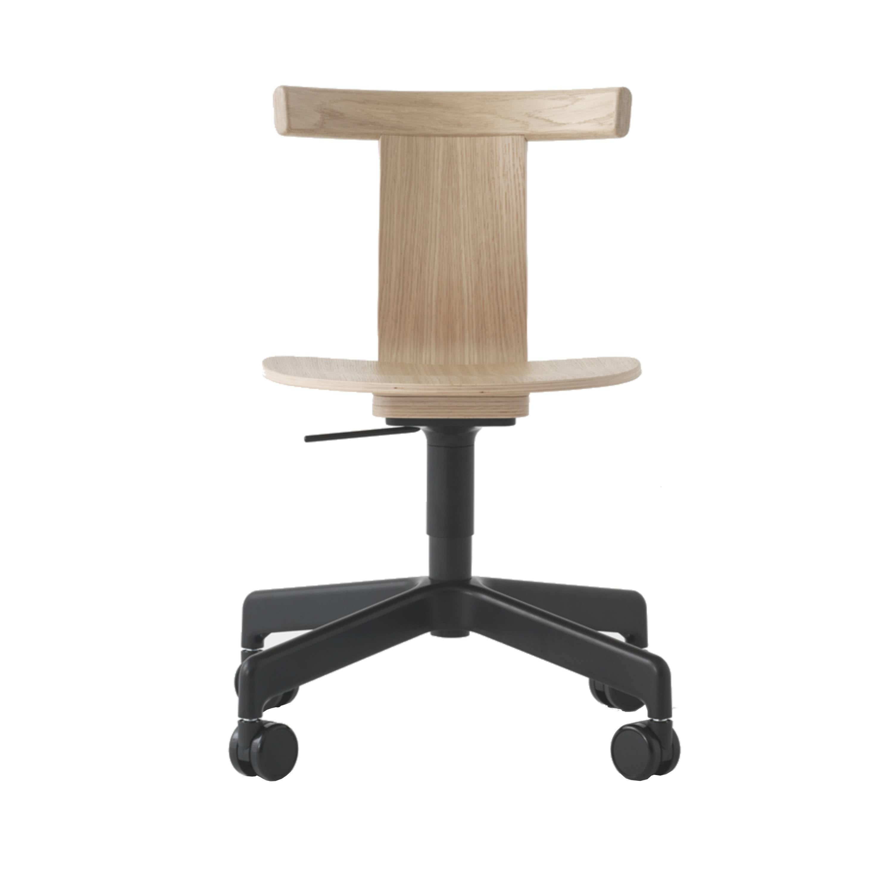 Jiro Swivel Chair: Natural + Black + With Castors
