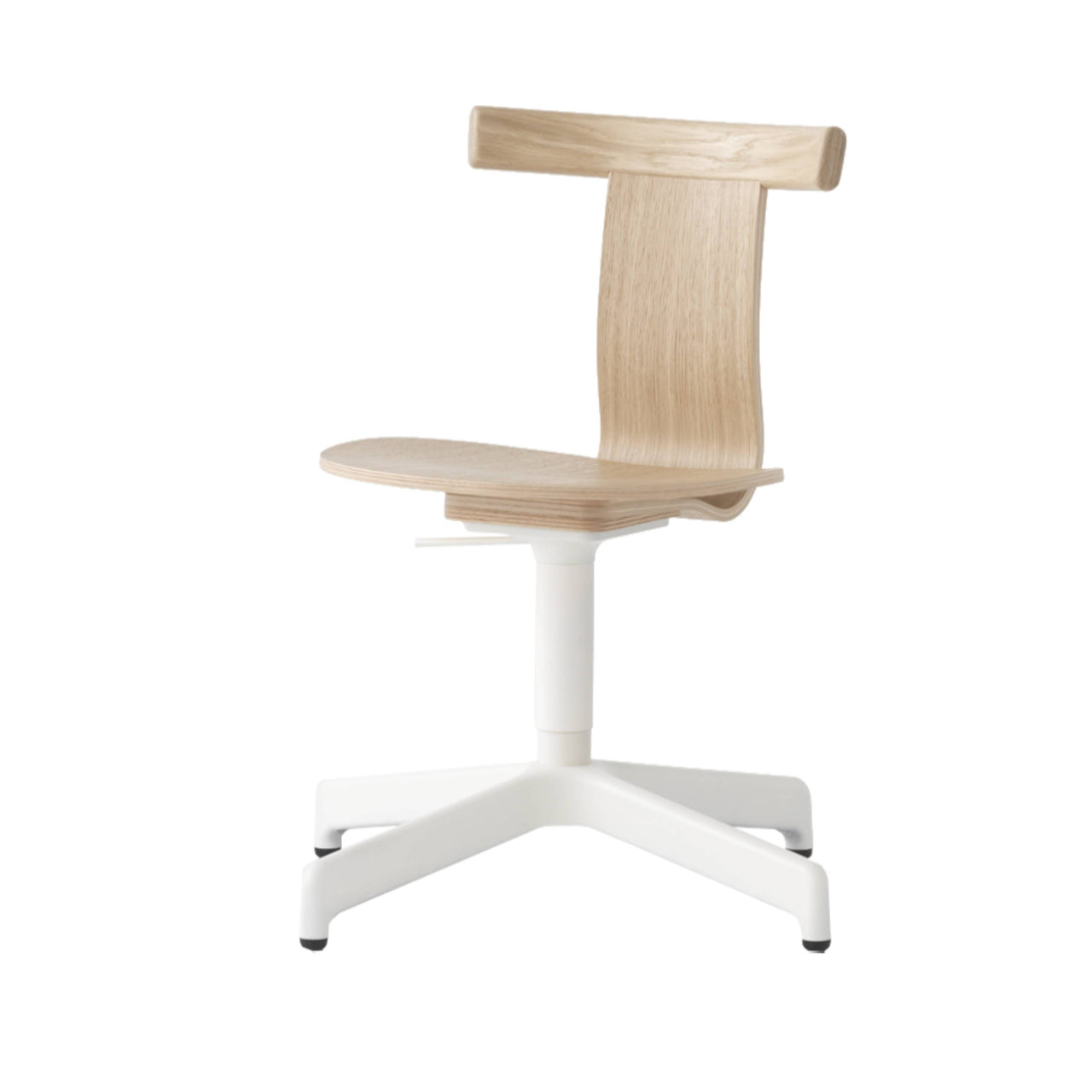 Jiro Swivel Chair: Natural + White + Without Castors