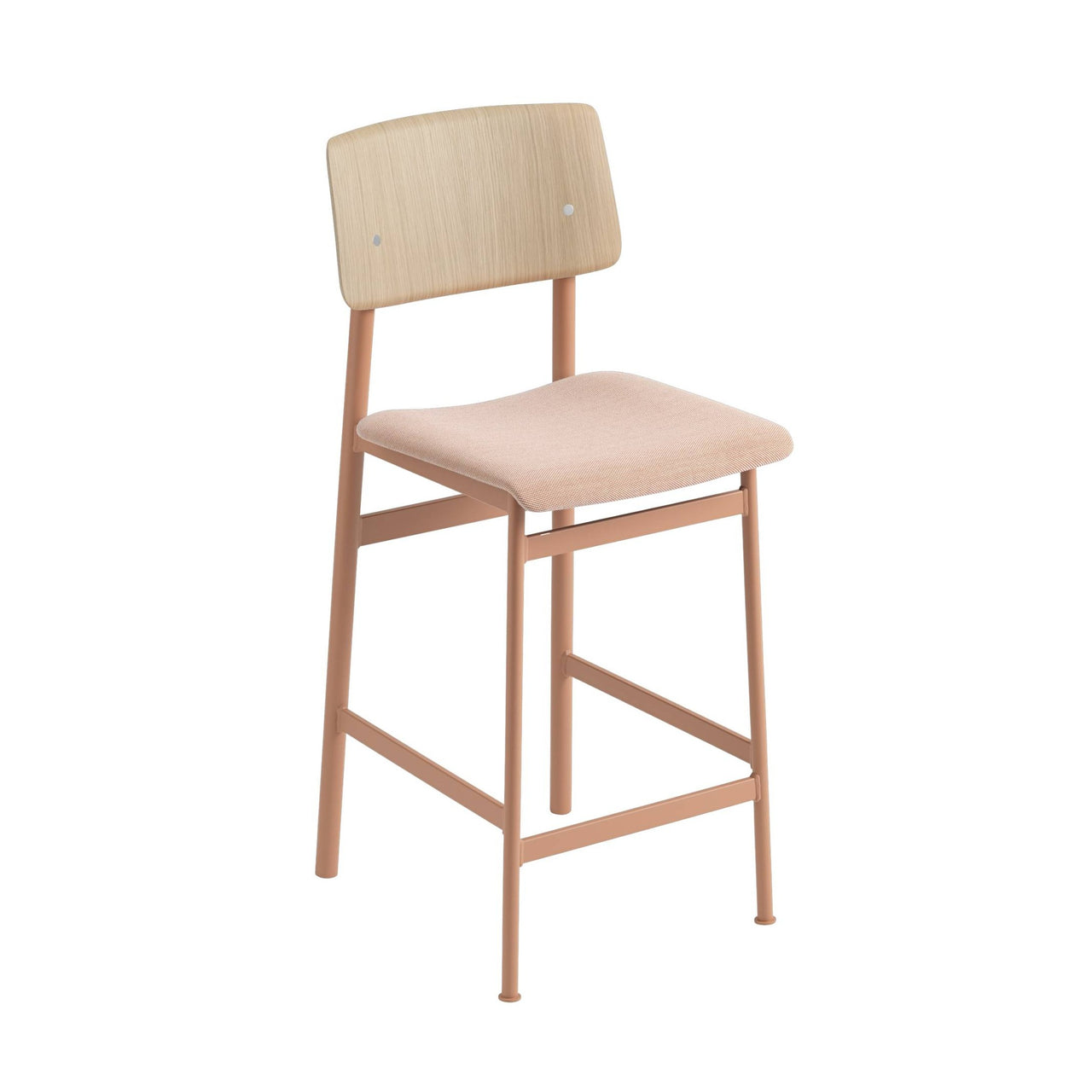 Loft Counter Stool Upholstered: Dusty Rose Base + Oak