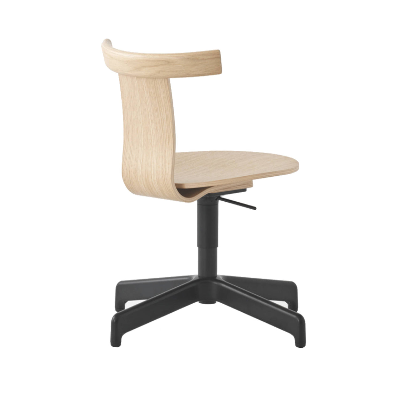 Jiro Swivel Chair: Natural + Black + Without Castors