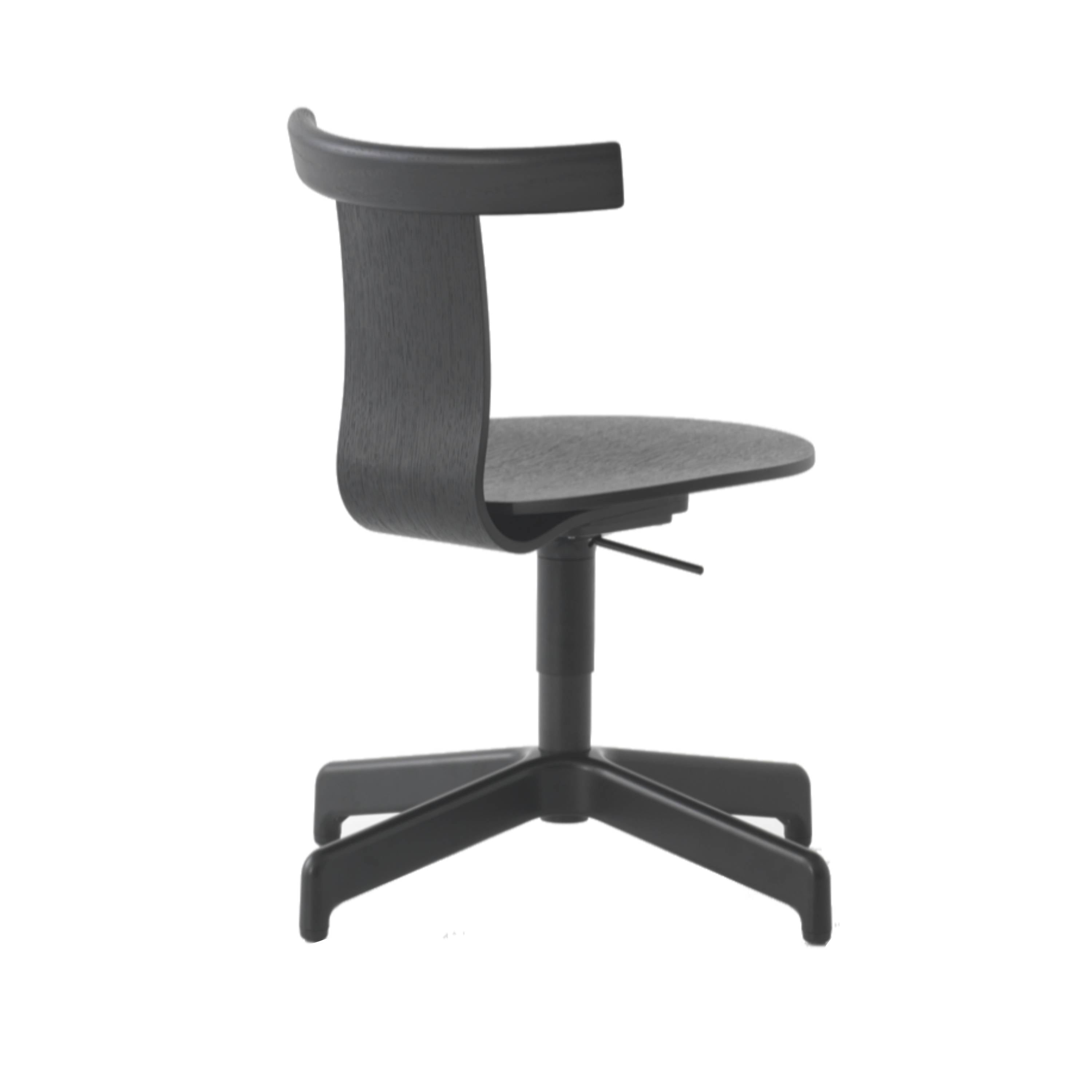 Jiro Swivel Chair: Black Shell + Black Base + Without Castors