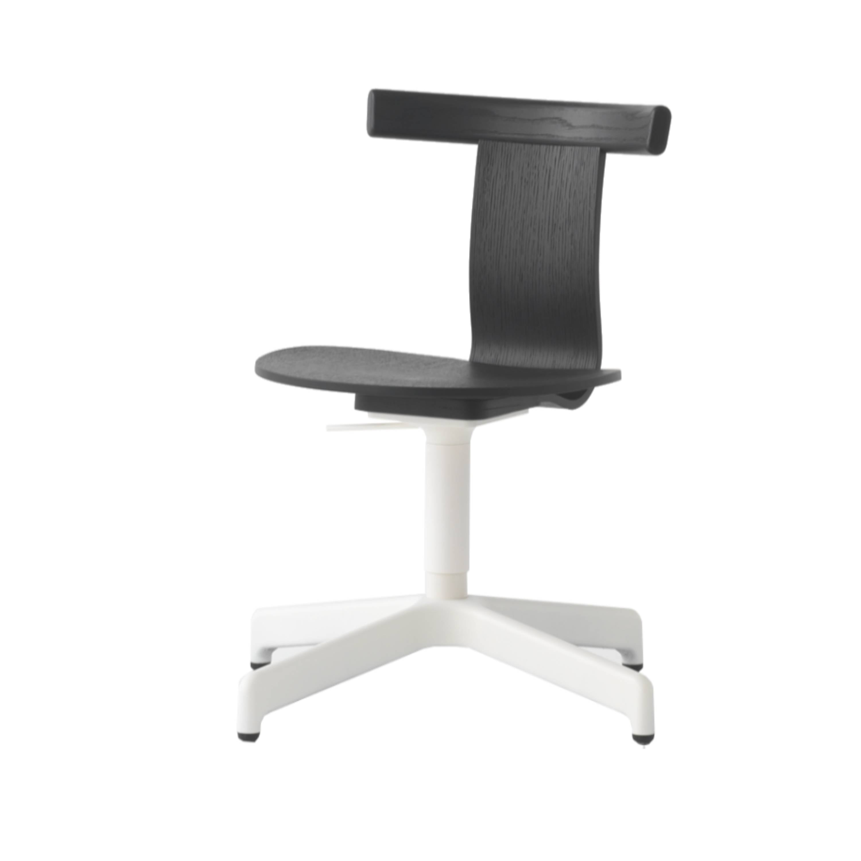 Jiro Swivel Chair: Black + White + Without Castors