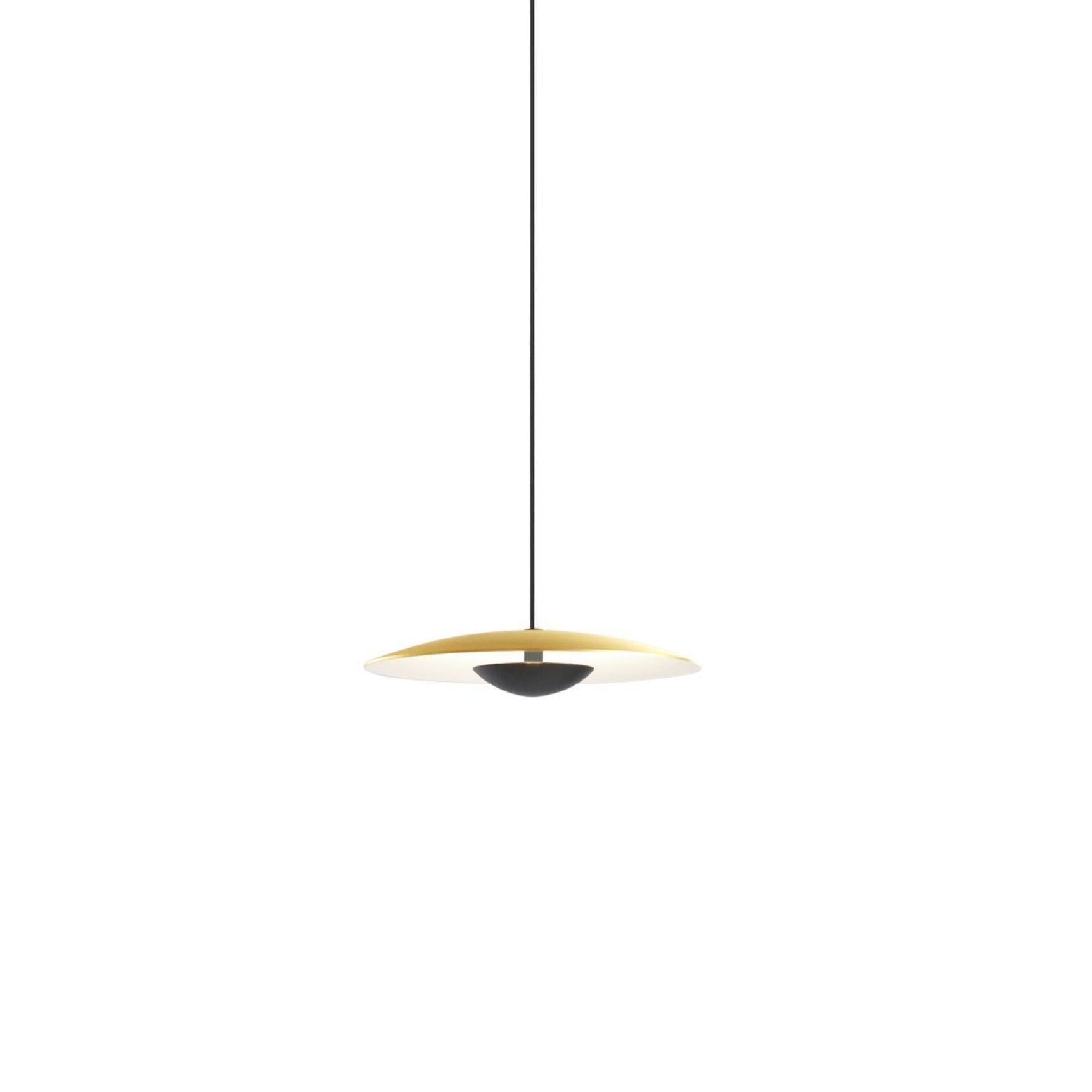 Ginger Pendant: 32 + Brushed Brass + White