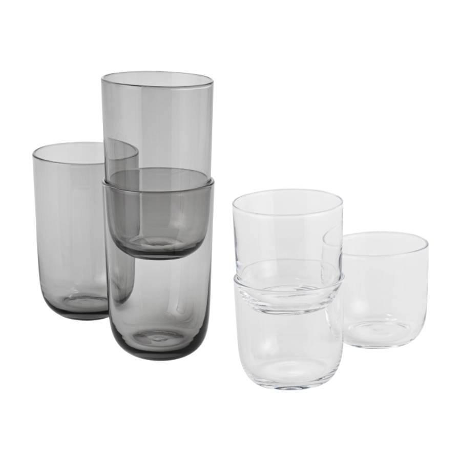 Corky Glasses: Clear or Smoke Set of 4