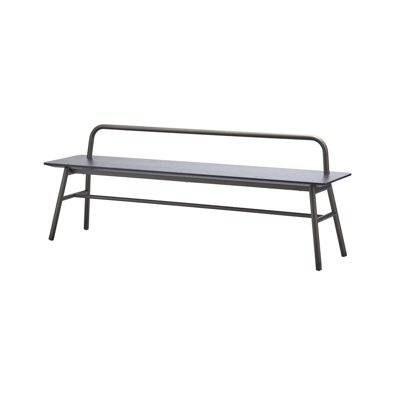 Holland Short Bench with Backrest: Carbon Stained Ash + Pewter