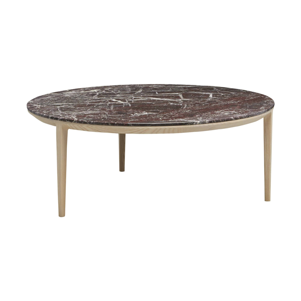 Etoile Side + Coffee Table: Large + Natural Stained Ash + Rose Marble