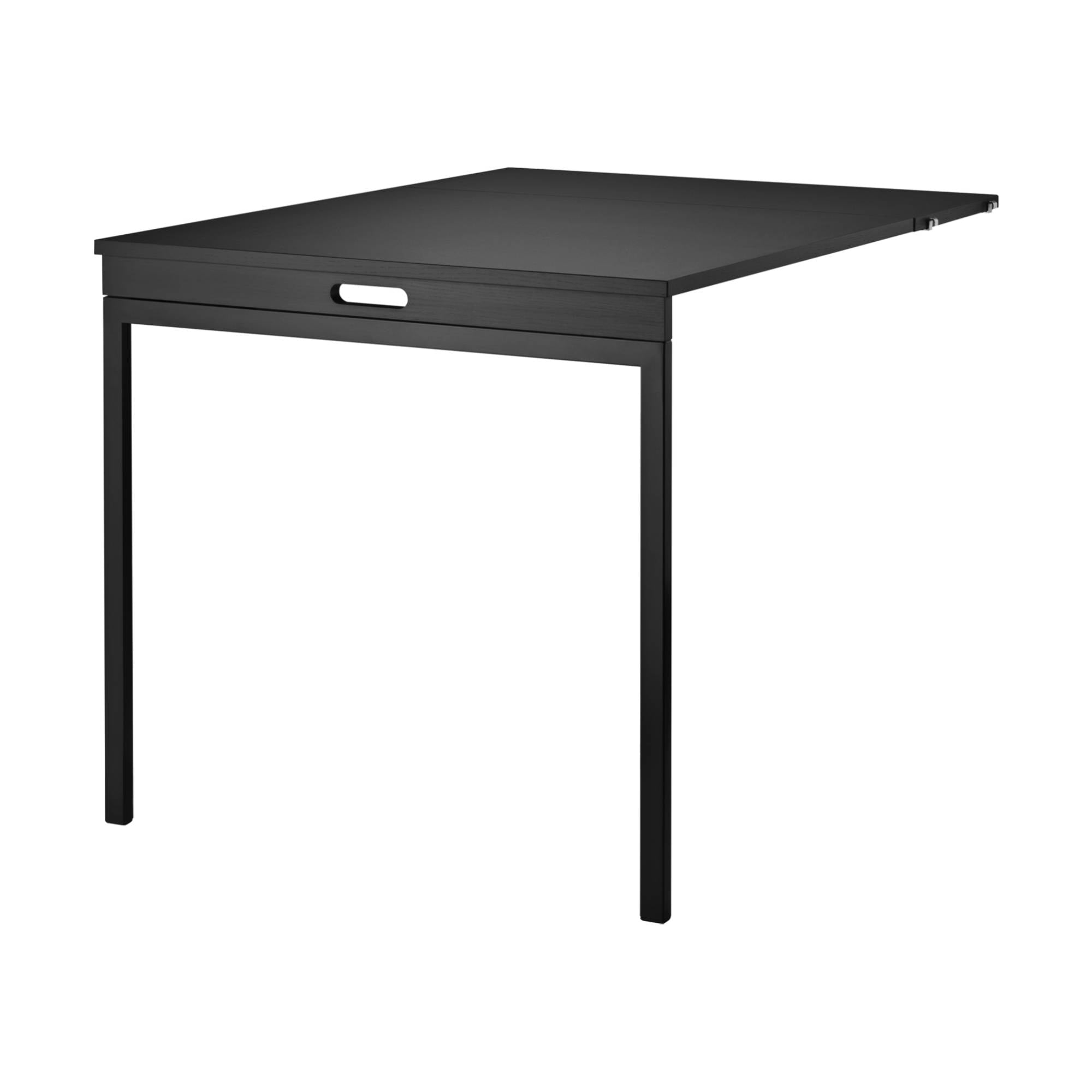 String Shelving System Folding Table: Black Stained Ash + Black
