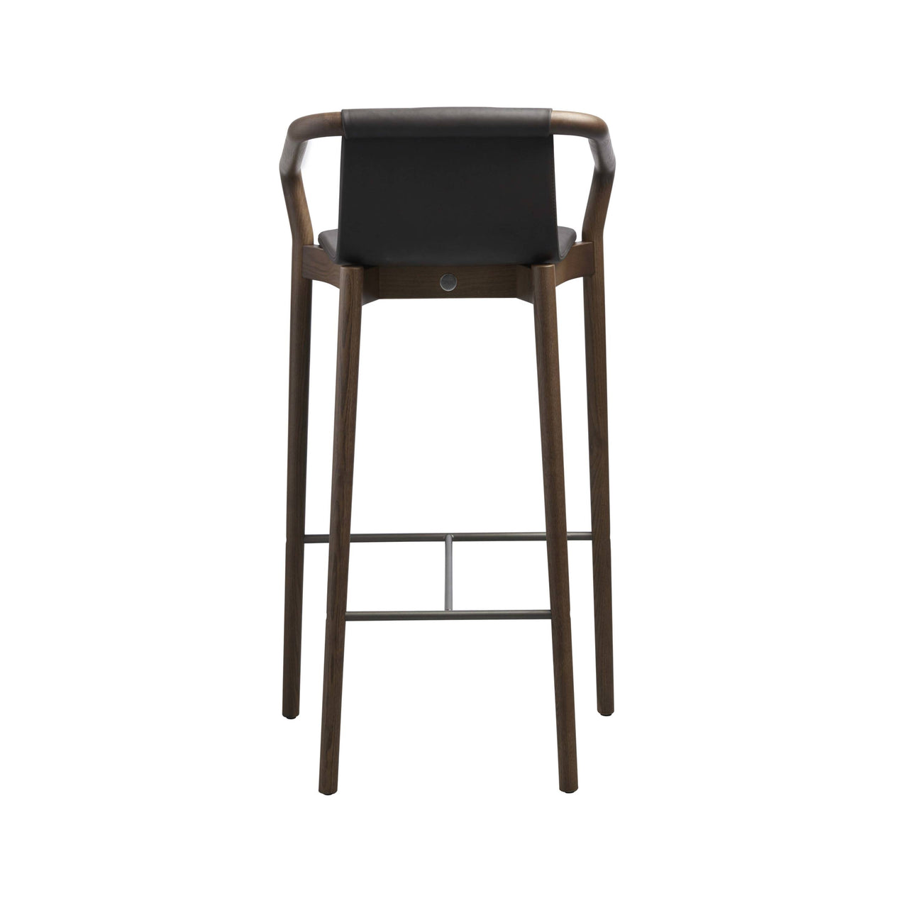 Thomas Bar Stool Upholstered: Walnut Stained Ash + Pewter