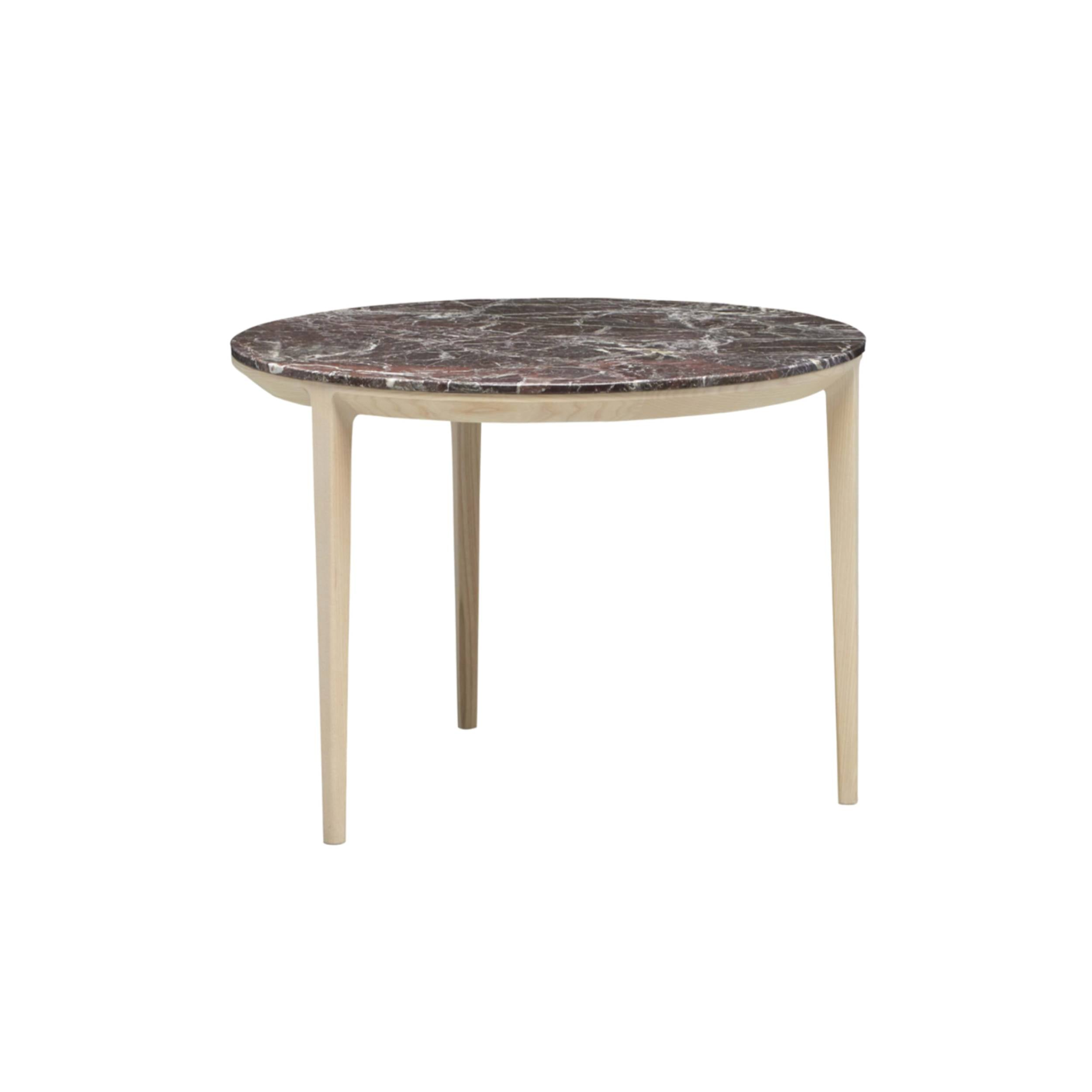 Etoile Side + Coffee Table: Small + Natural Stained Ash + Rose Marble