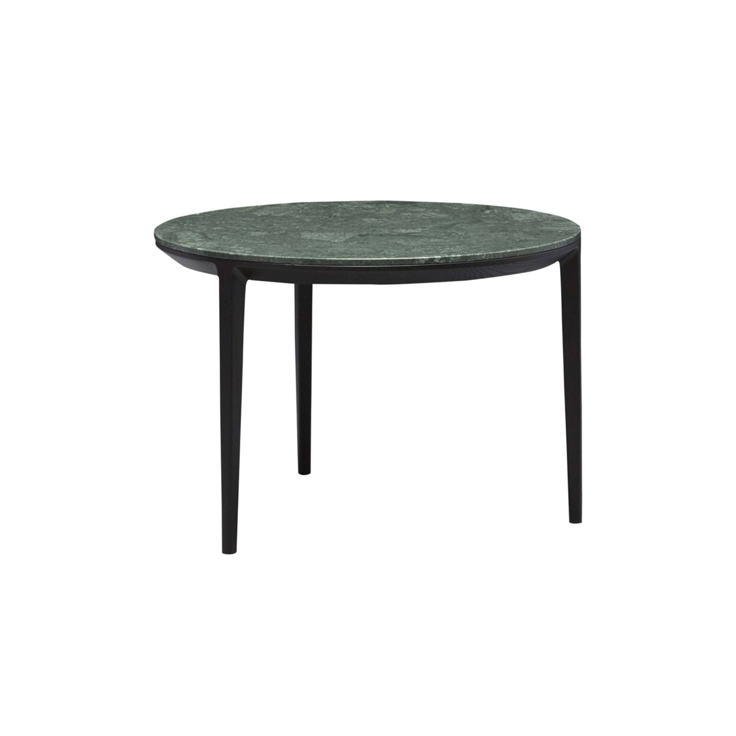 Etoile Side + Coffee Table: Small + Carbon Stained Ash + Green Marble