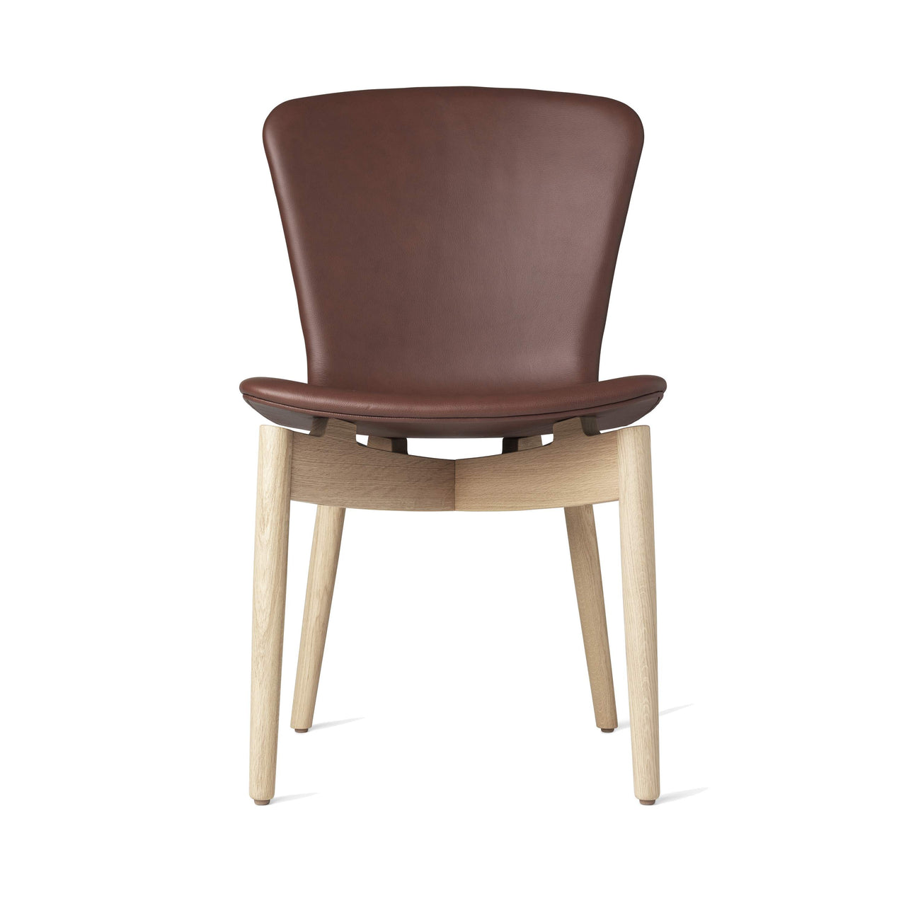 Shell Dining Chair: Matte Stained Oak + Ultra Cognac Leather