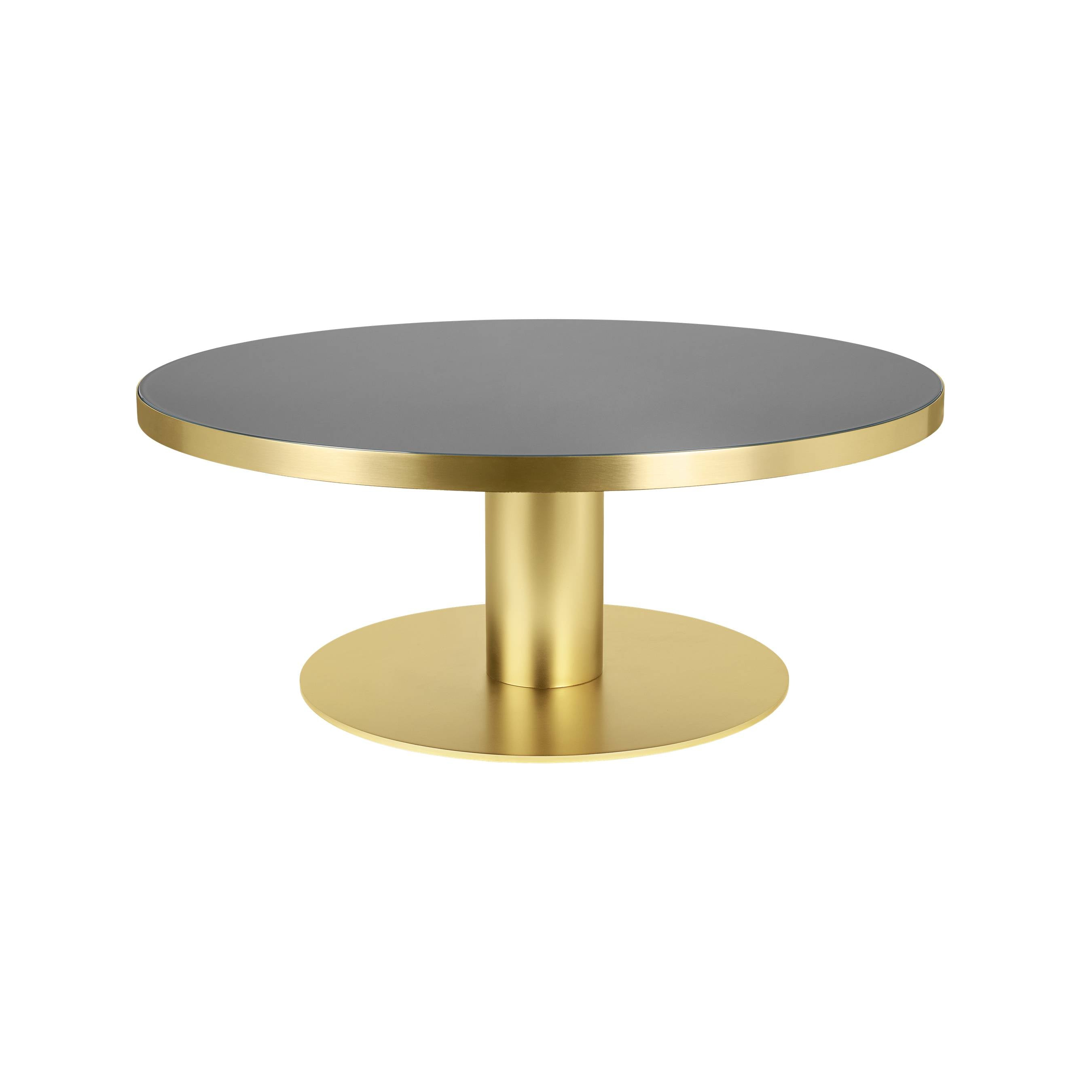 Gubi 2.0 Coffee Table: Glass Top + Small + Brass Base + Granite Grey