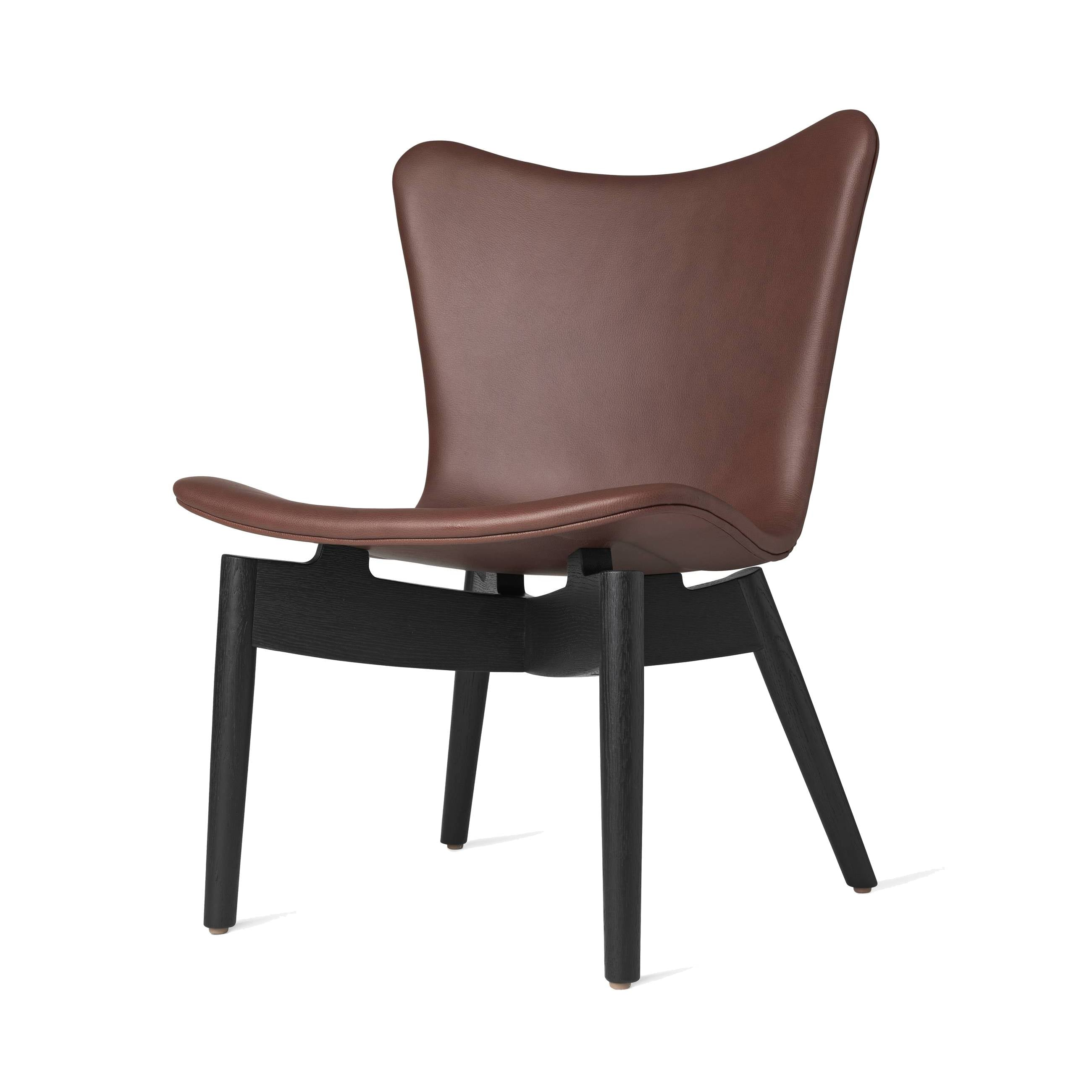 Shell Lounge Chair: Ultra Cognac Leather + Black Stained Oak