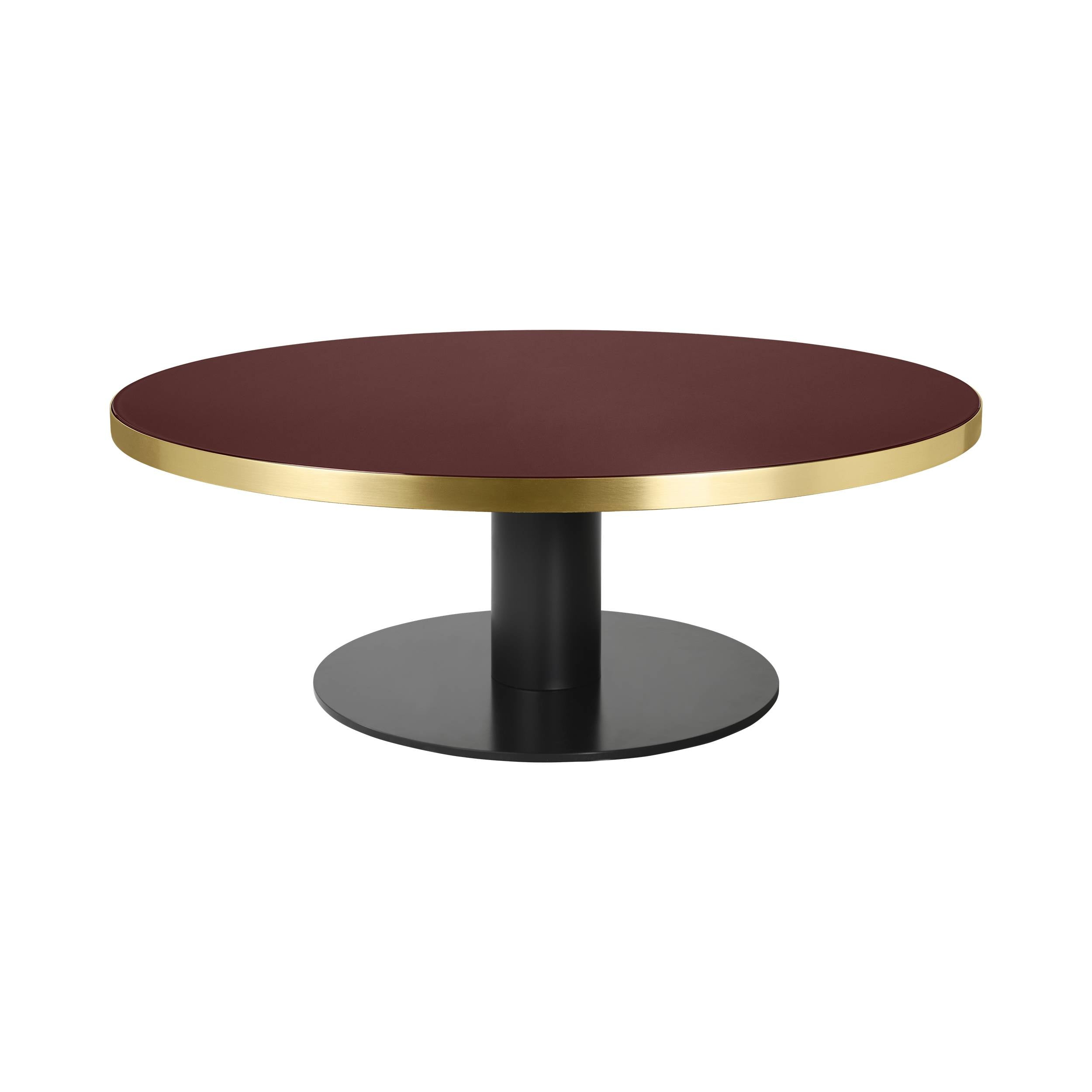 Gubi 2.0 Coffee Table: Glass Top + Medium + Black Base + Cherry Red