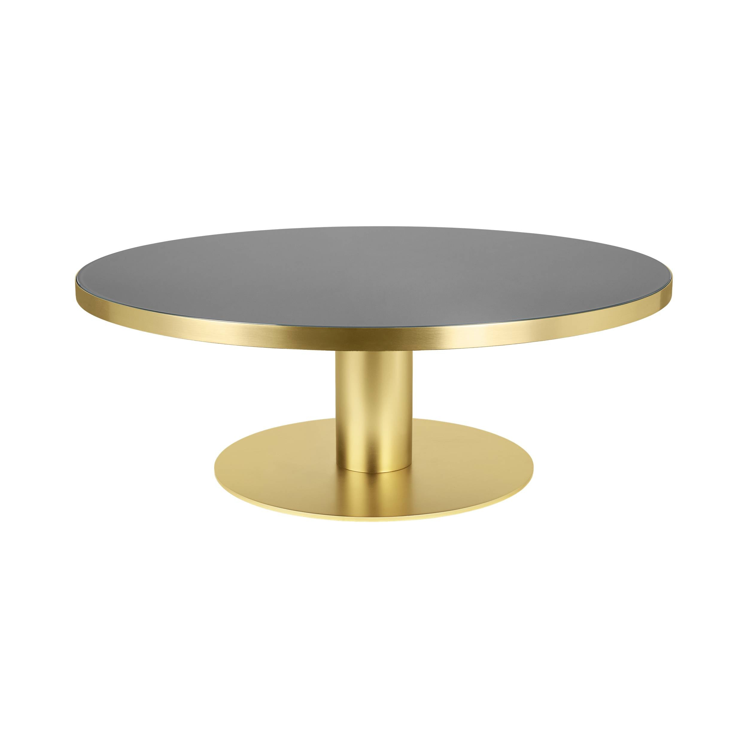 Gubi 2.0 Coffee Table: Glass Top + Medium + Brass Base + Granite Grey
