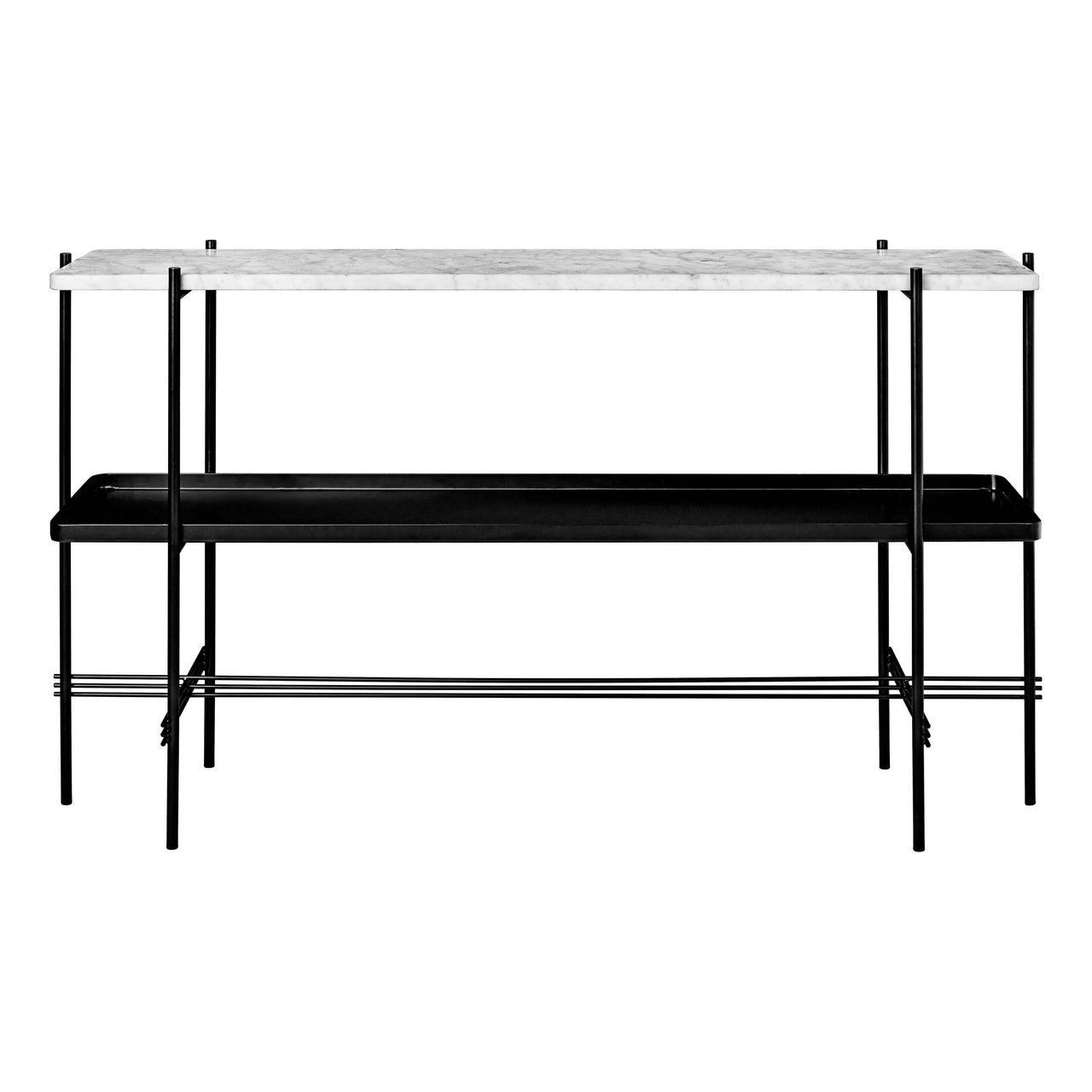 TS Console: 2 Racks + Tray + Black Base + White Carrara Marble