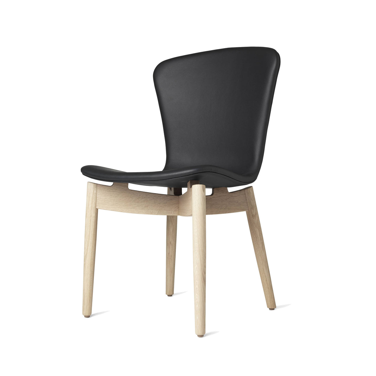 Shell Dining Chair: Matte Stained Oak + Ultra Black Leather