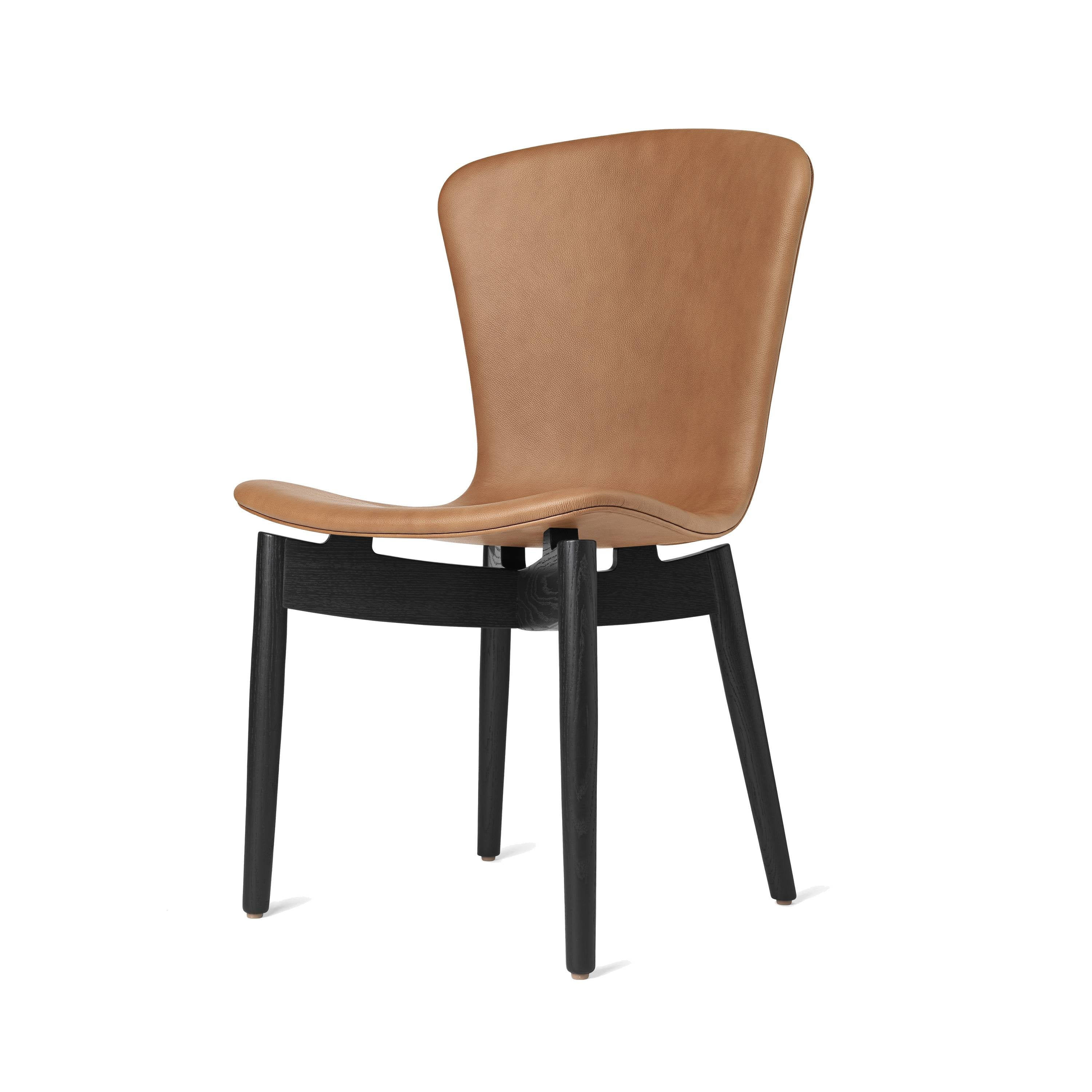 Shell Dining Chair: Black Stained Oak + Ultra Brandy Leather