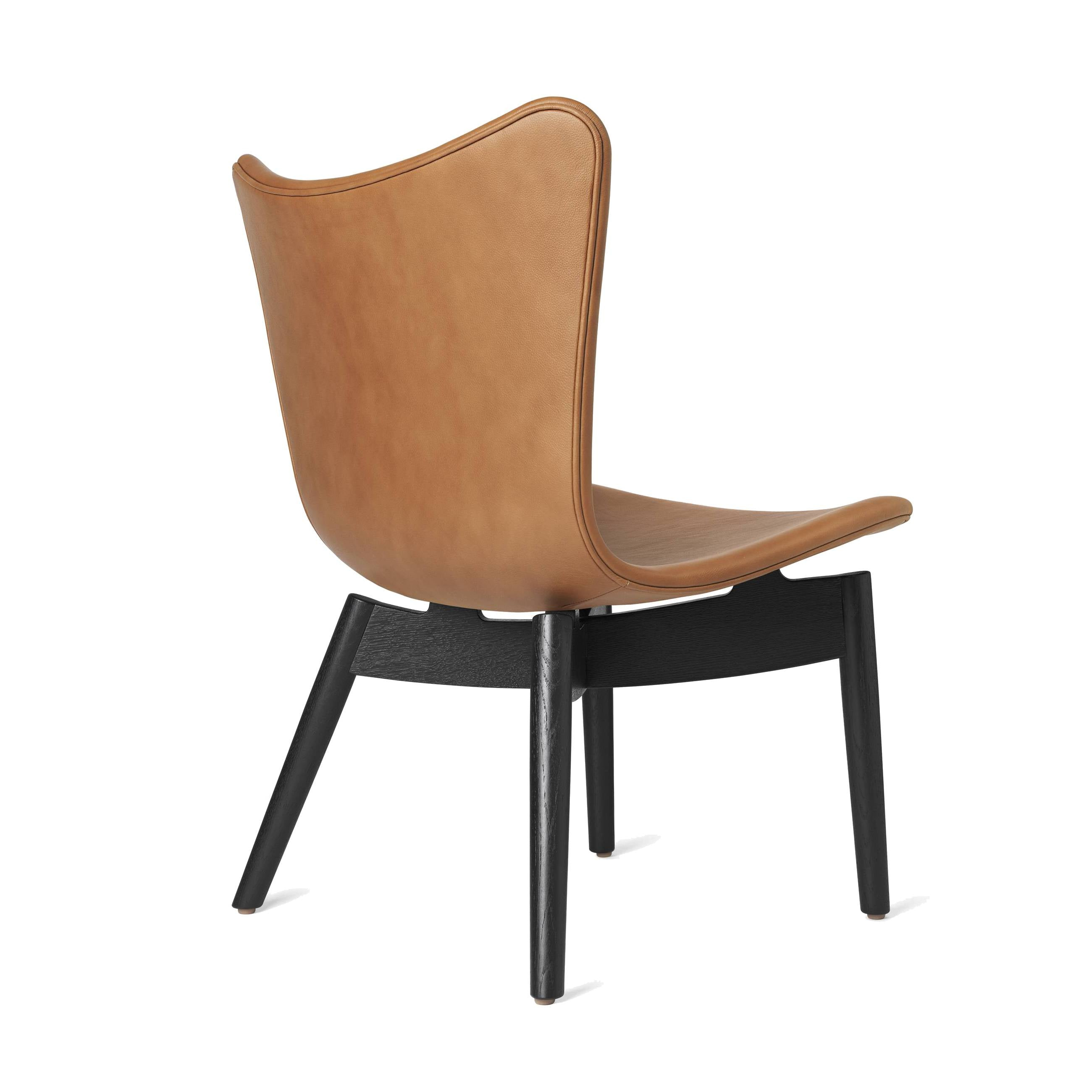 Shell Lounge Chair: Ultra Brandy Leather + Black Stained Oak