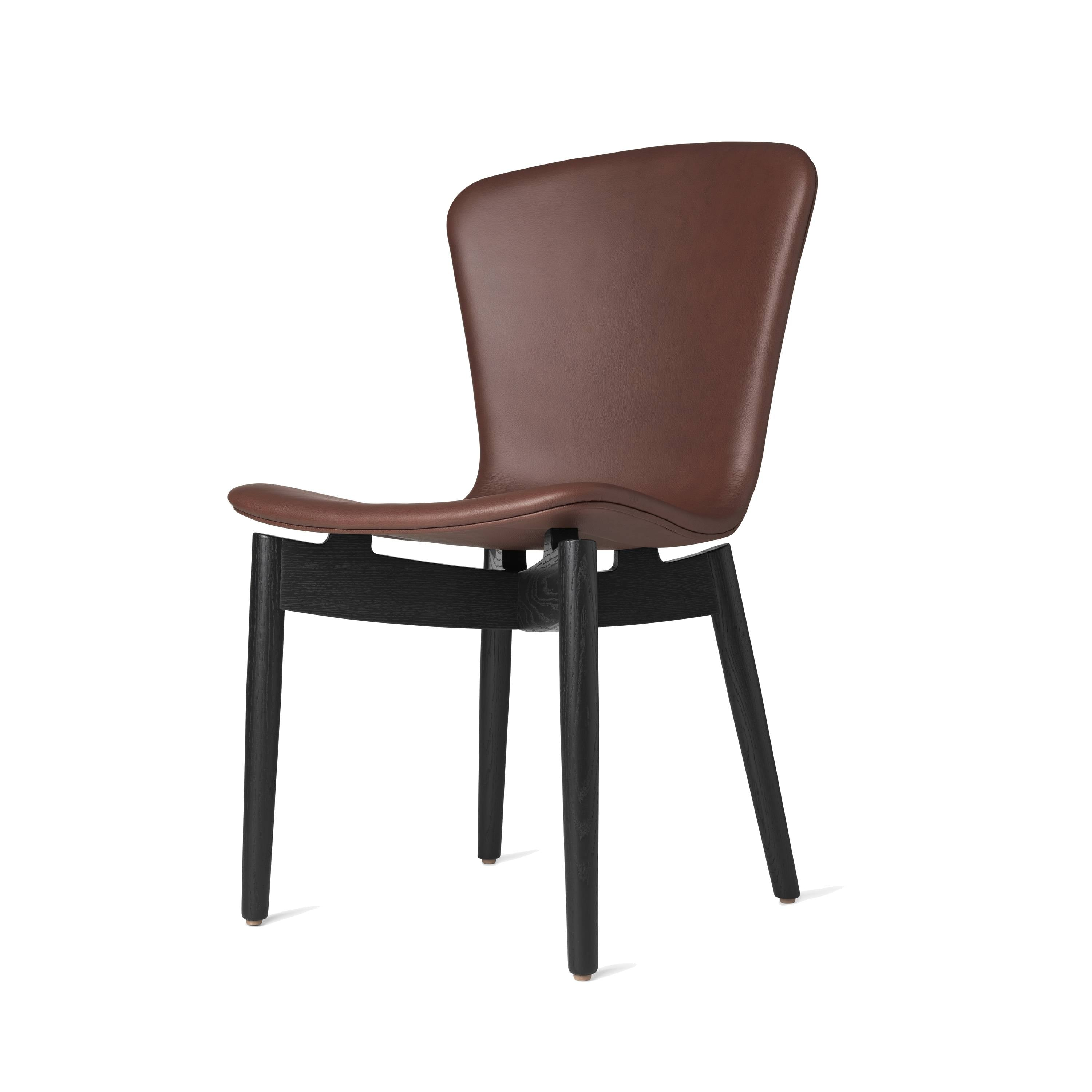 Shell Dining Chair: Black Stained Oak + Ultra Cognac Leather