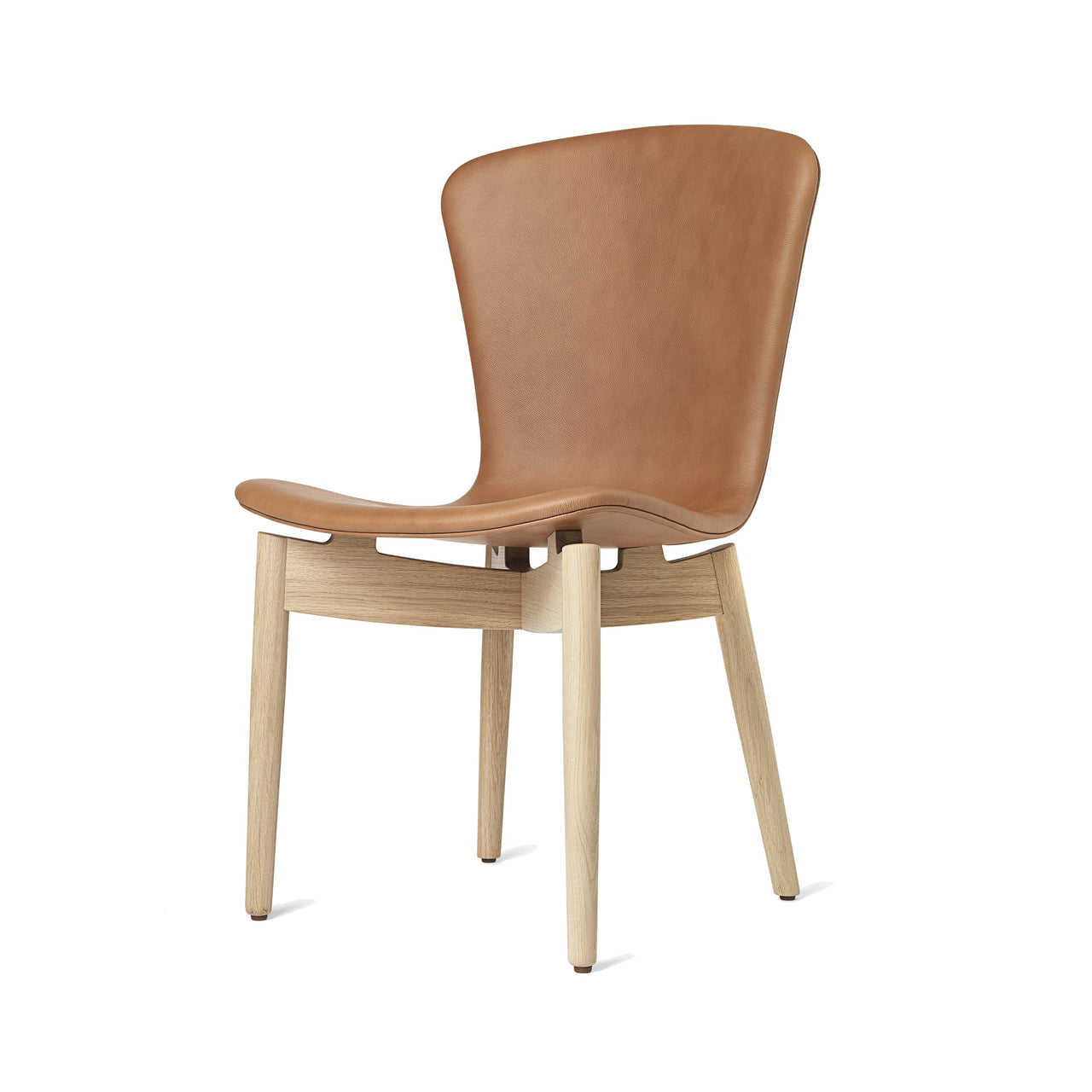 Shell Dining Chair: Matte Stained Oak + Ultra Brandy Leather