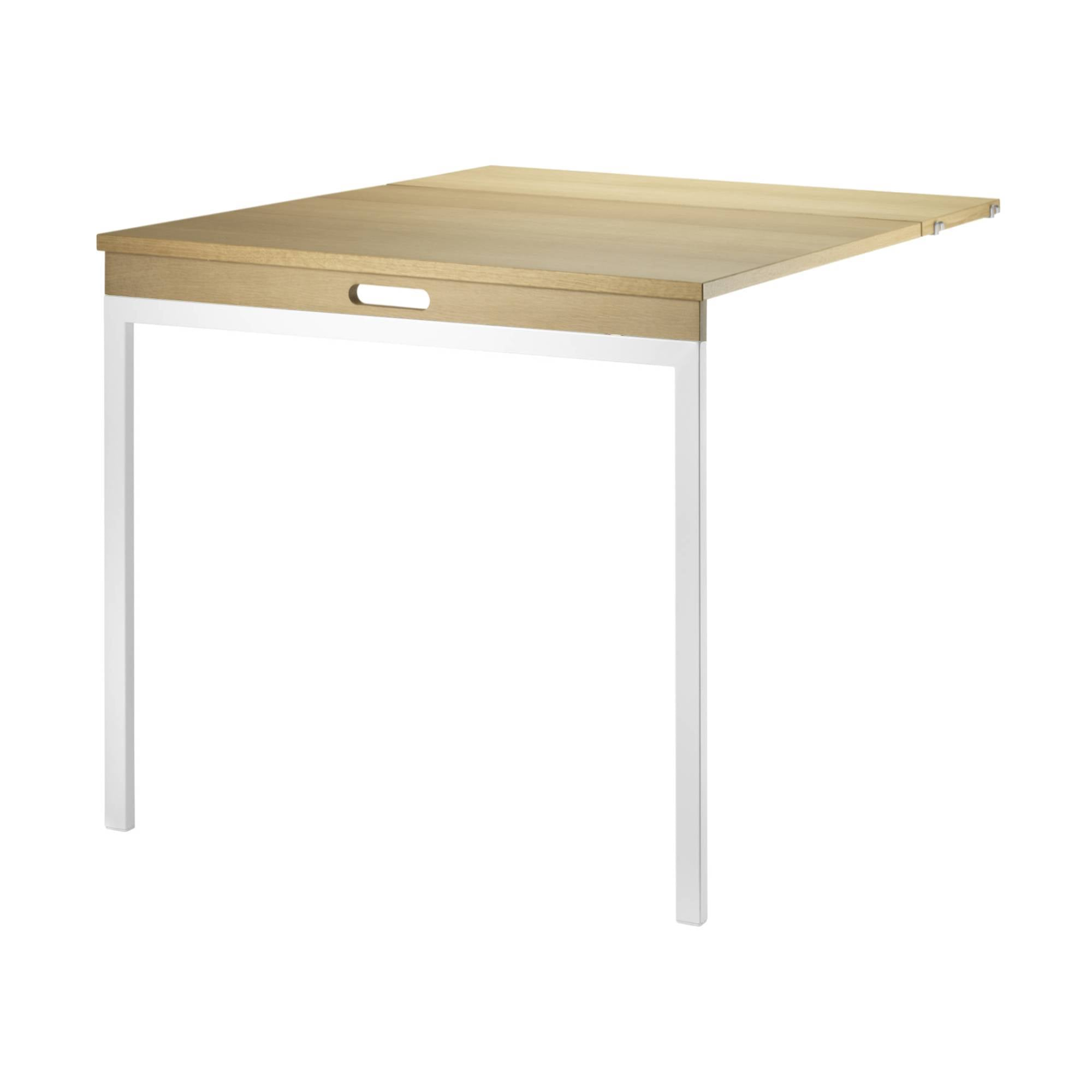 String Shelving System Folding Table: Oak + White Legs