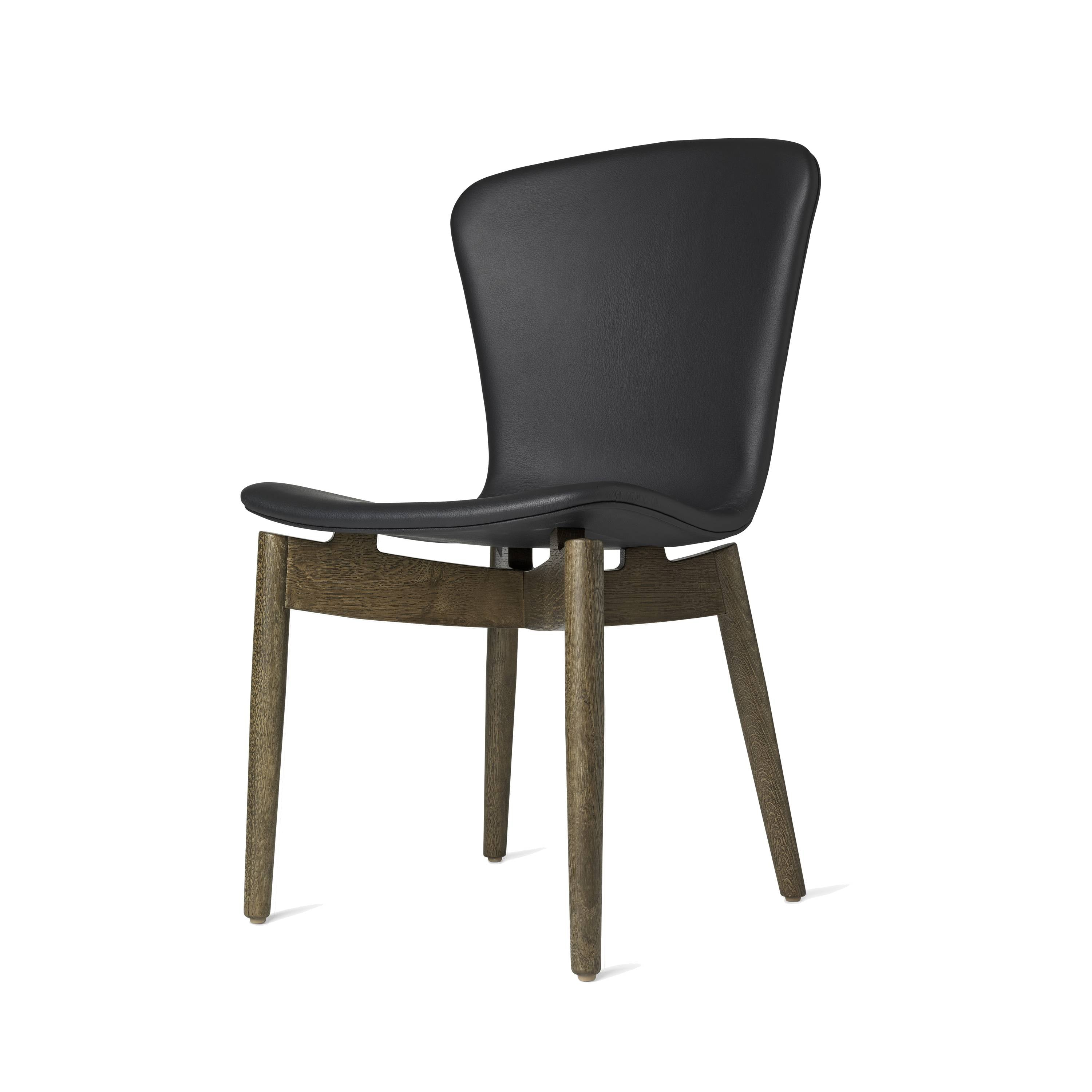 Shell Dining Chair: Sirka Grey Oak + Ultra Black Leather