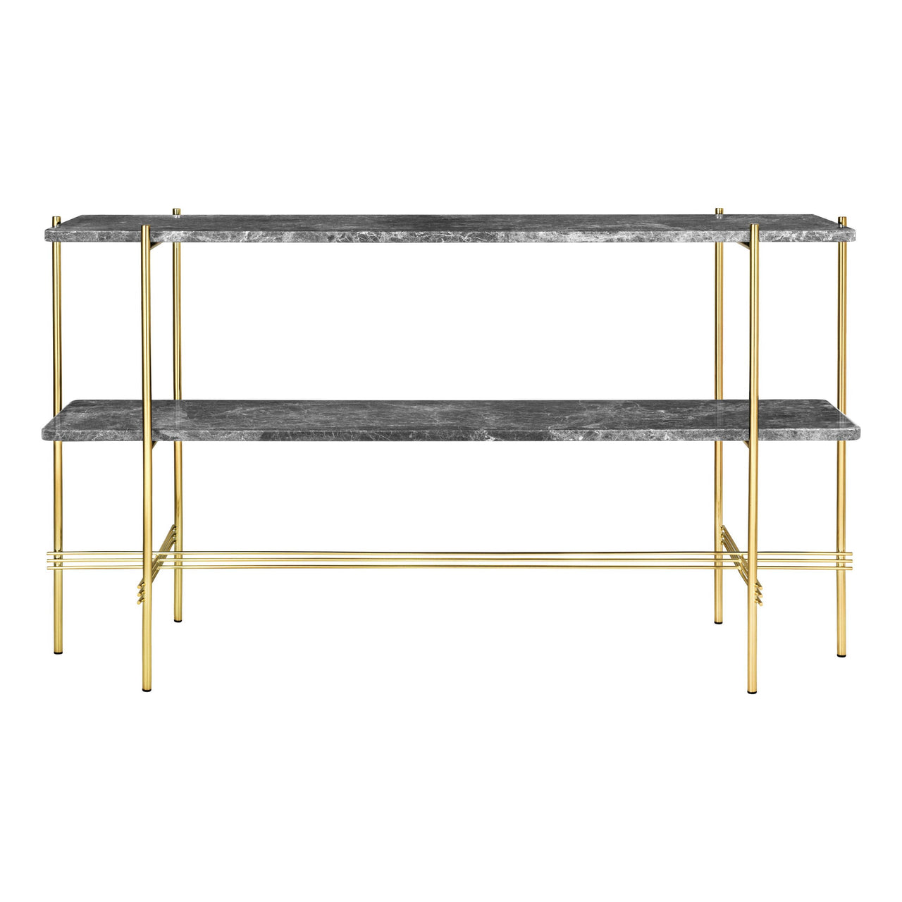 TS Console: 2 Racks + Brass Base + Grey Emperador Marble