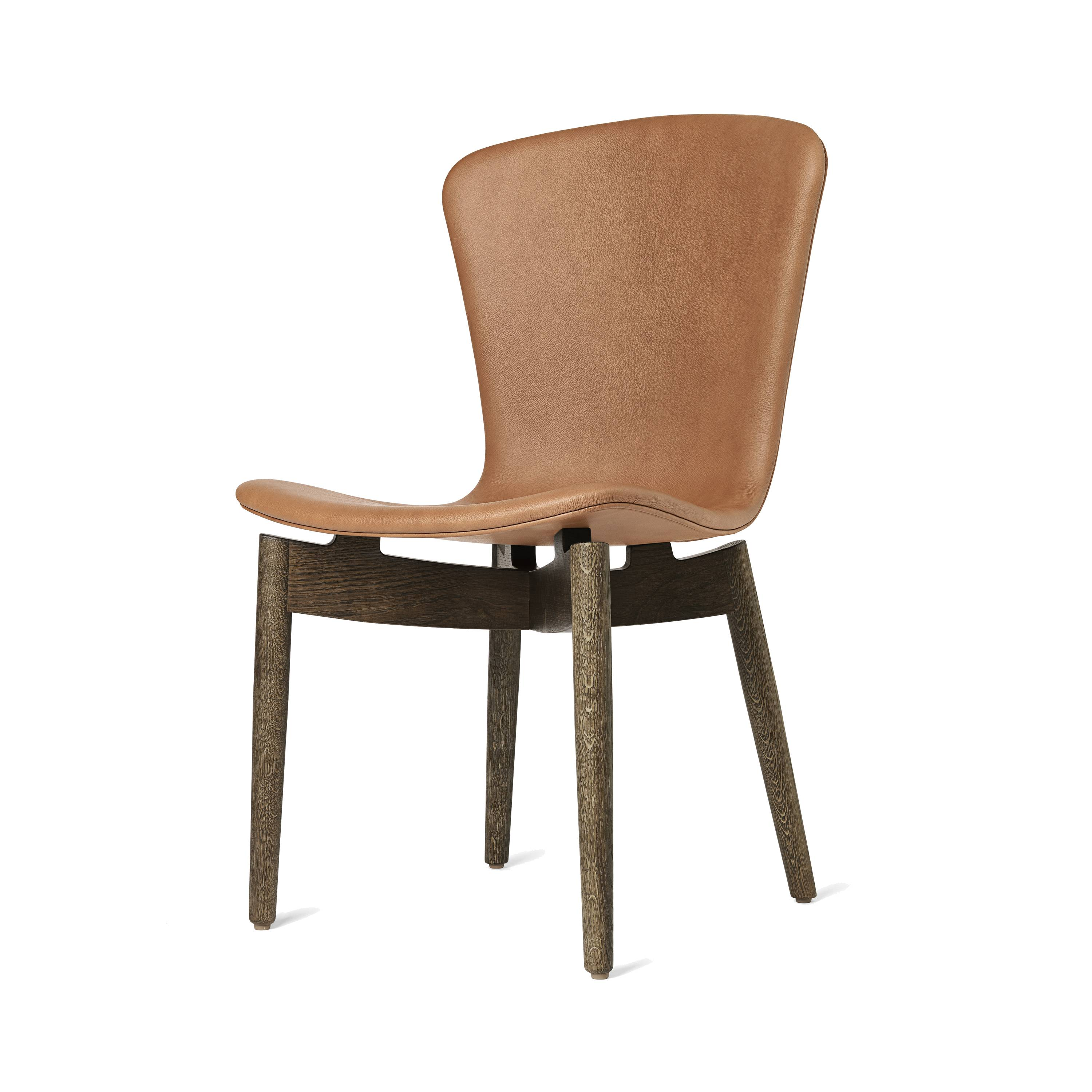 Shell Dining Chair: Sirka Grey Oak + Ultra Brandy Leather