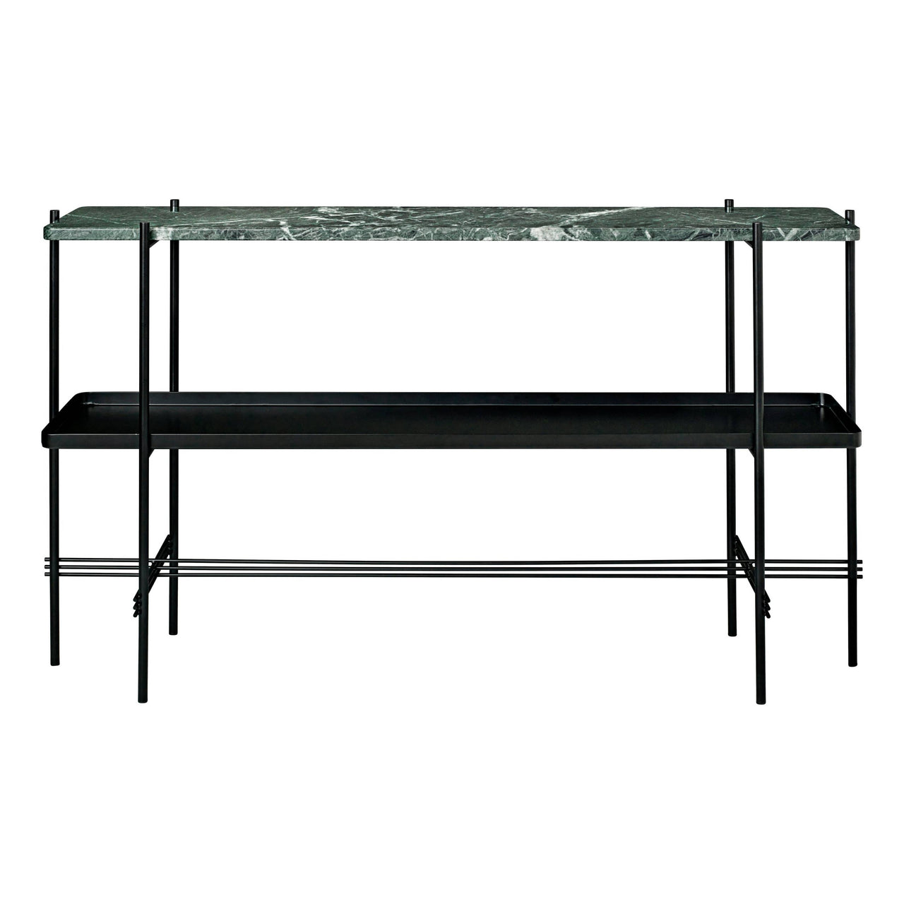 TS Console: 2 Racks + Tray + Black Base + Green Guatemala Marble