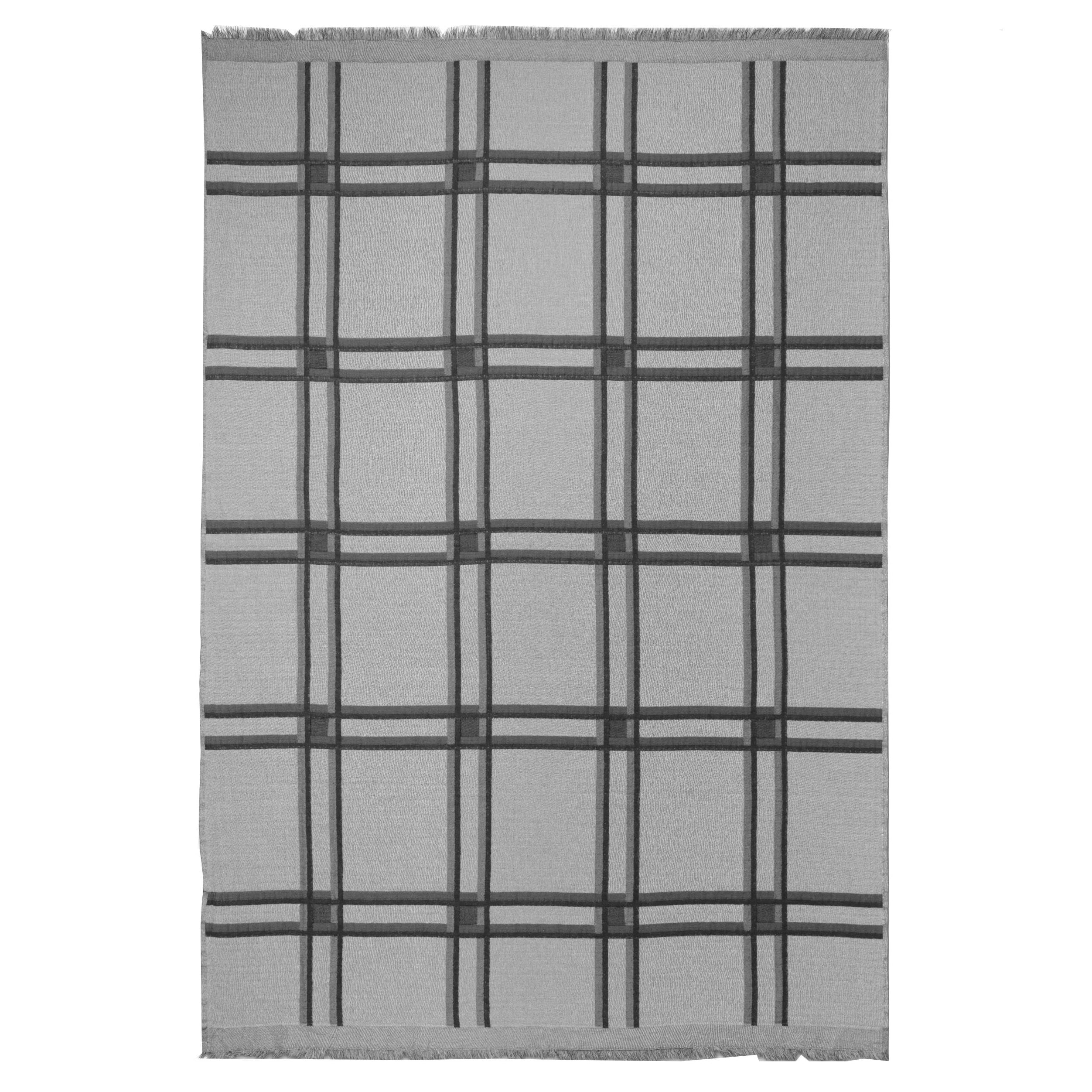 Checked Wool Blend Blanket: Grey