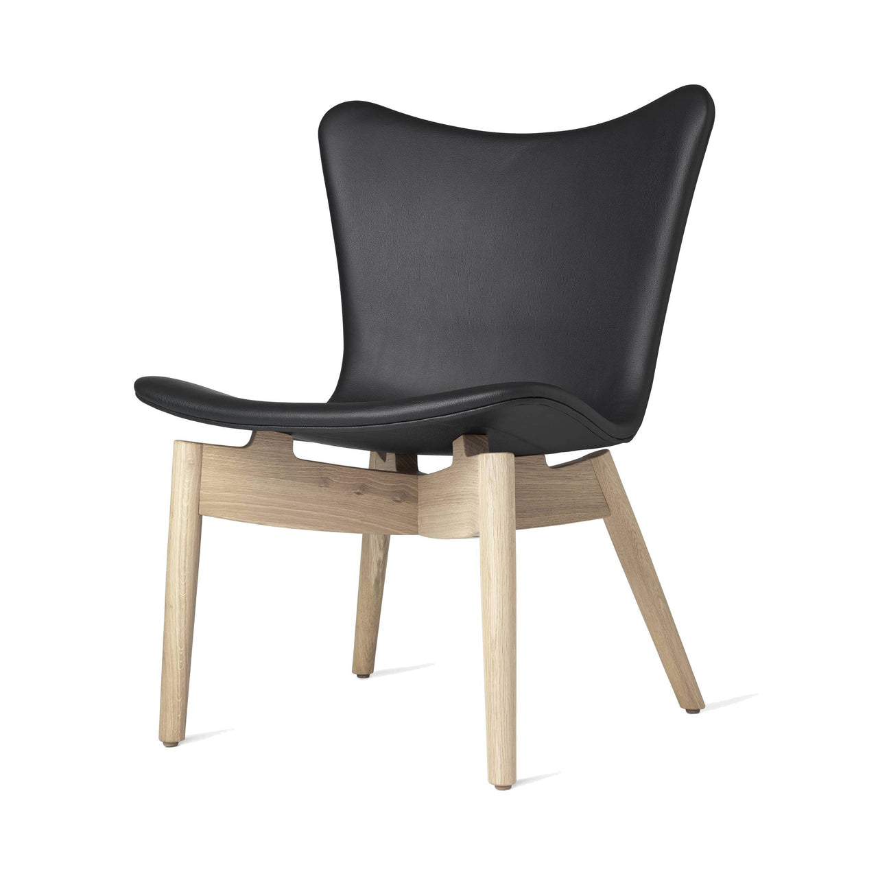 Shell Lounge Chair: Ultra Black Leather + Matte Stained Oak