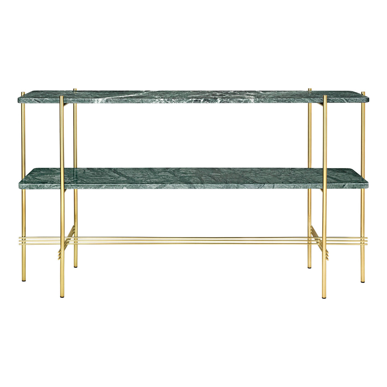 TS Console: 2 Racks + Brass Base + Green Gautemala Marble