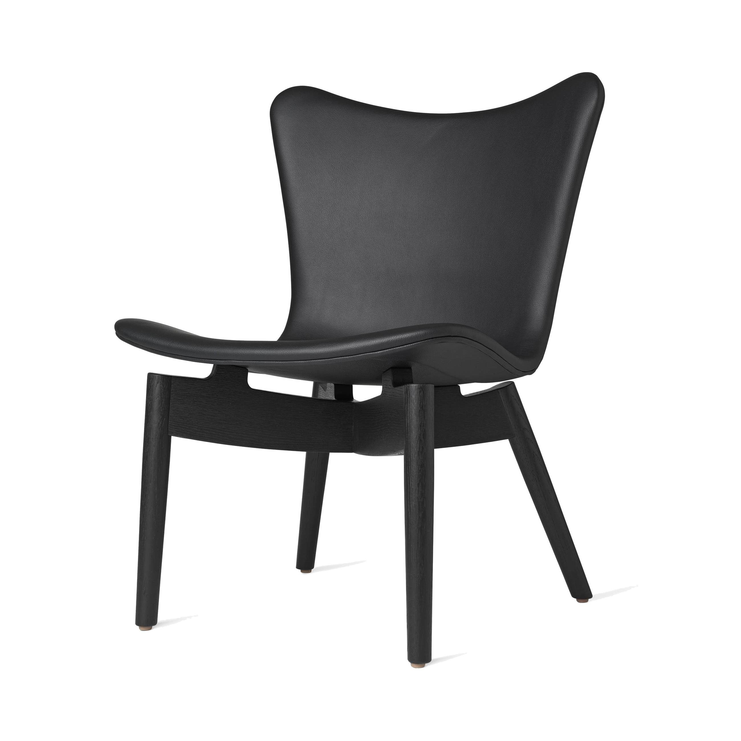 Shell Lounge Chair: Ultra Black Leather + Black Stained Oak
