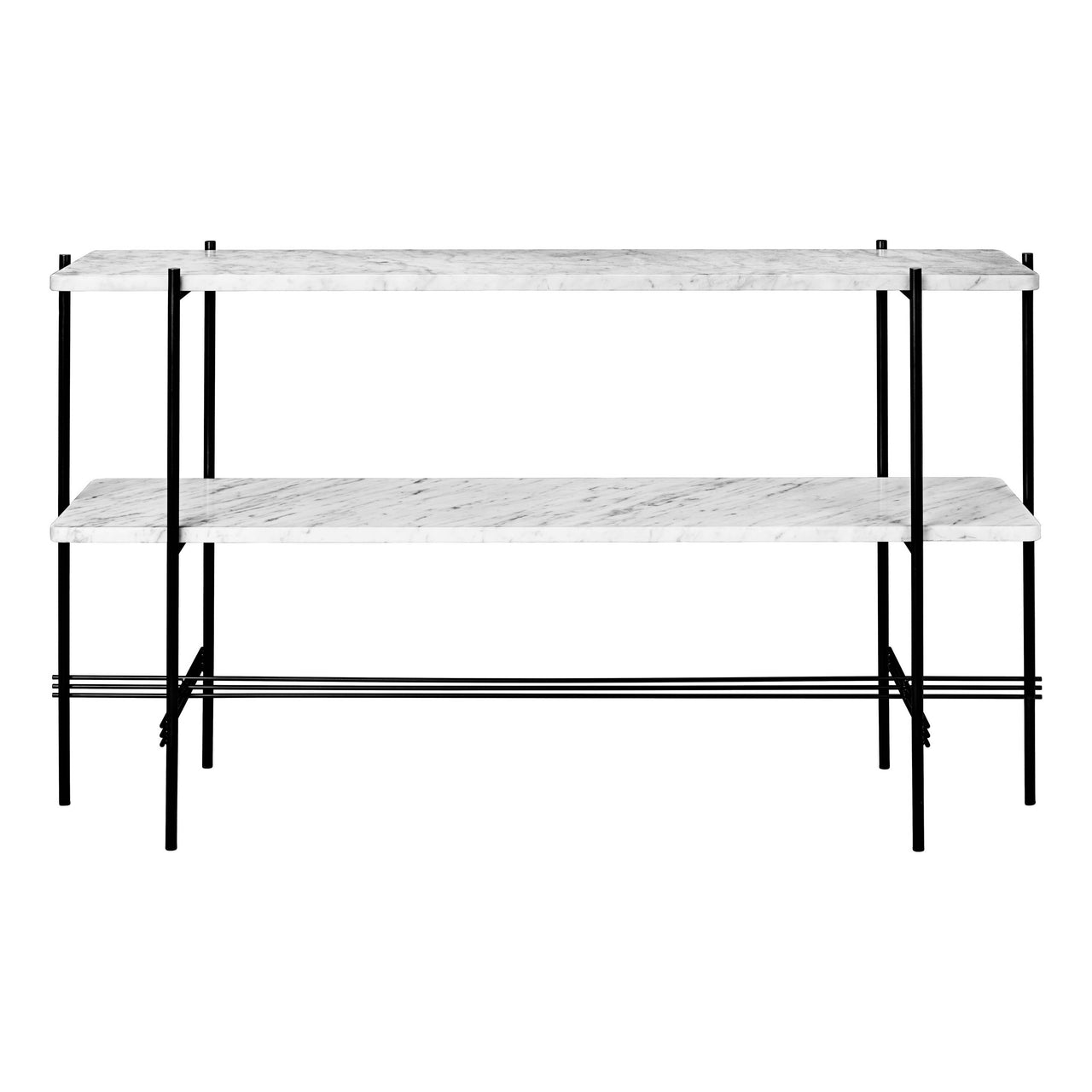 TS Console: 2 Racks + Black Base + White Cararra Marble