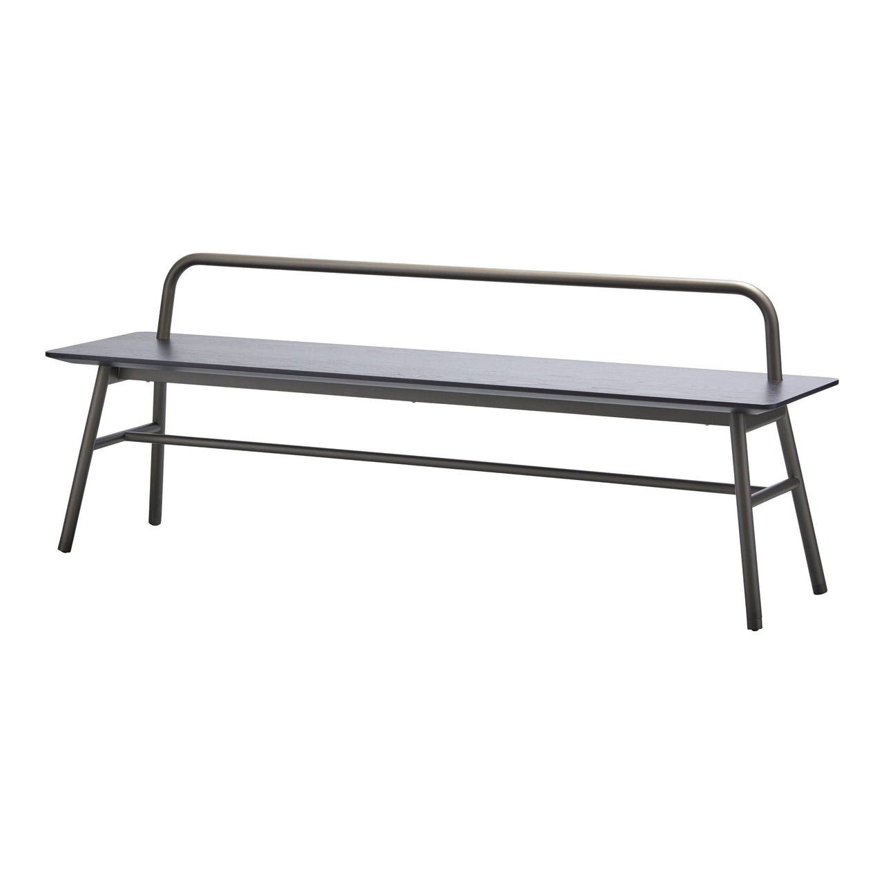 Holland Long Bench with Backrest: Carbon Stained Ash + Pewter