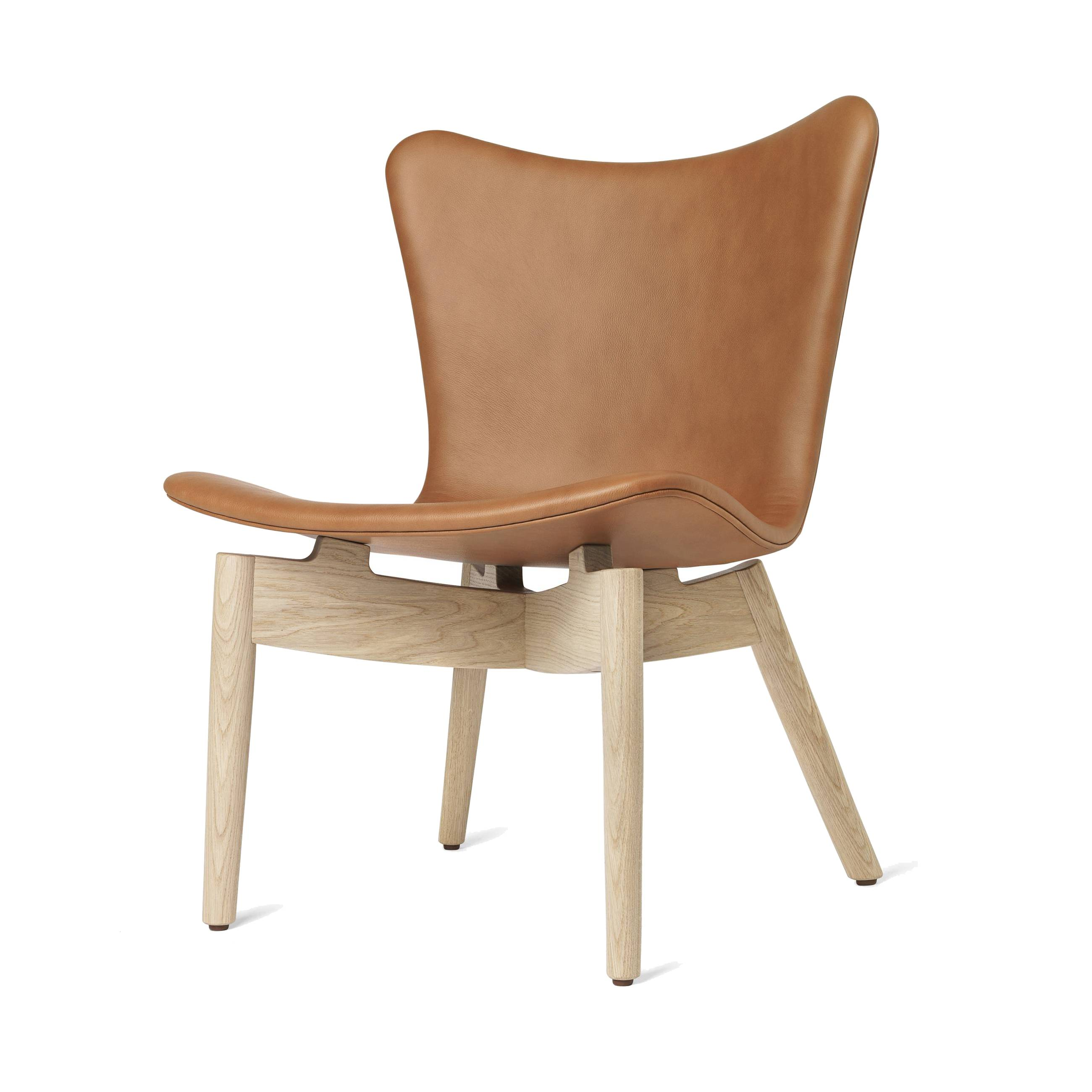 Shell Lounge Chair: Ultra Brandy Leather + Matte Stained Oak