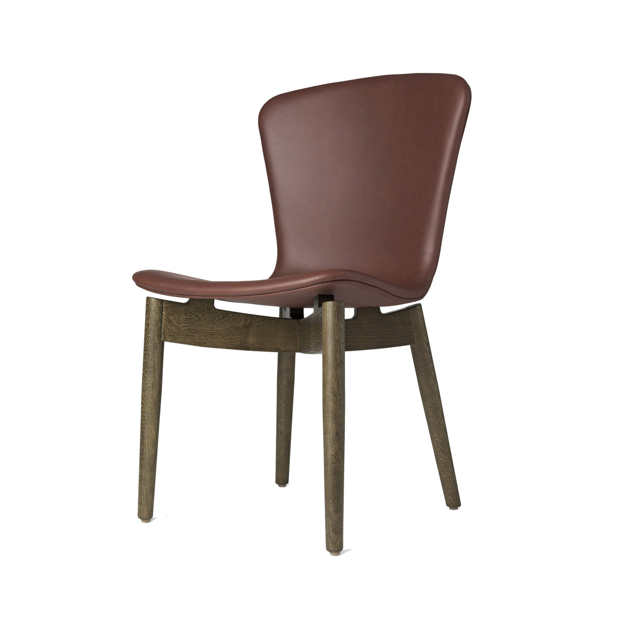Shell Dining Chair: Ultra Cognac Leather + Sirka Grey Oak