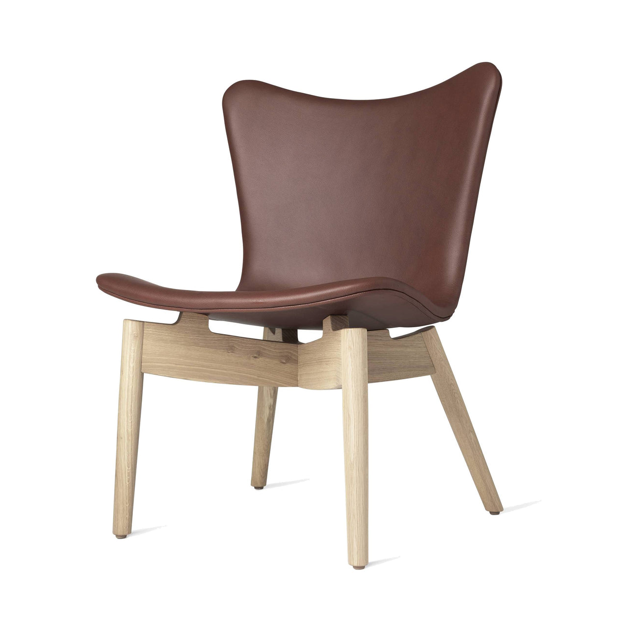 Shell Lounge Chair: Ultra Cognac Leather + Matte Stained Oak