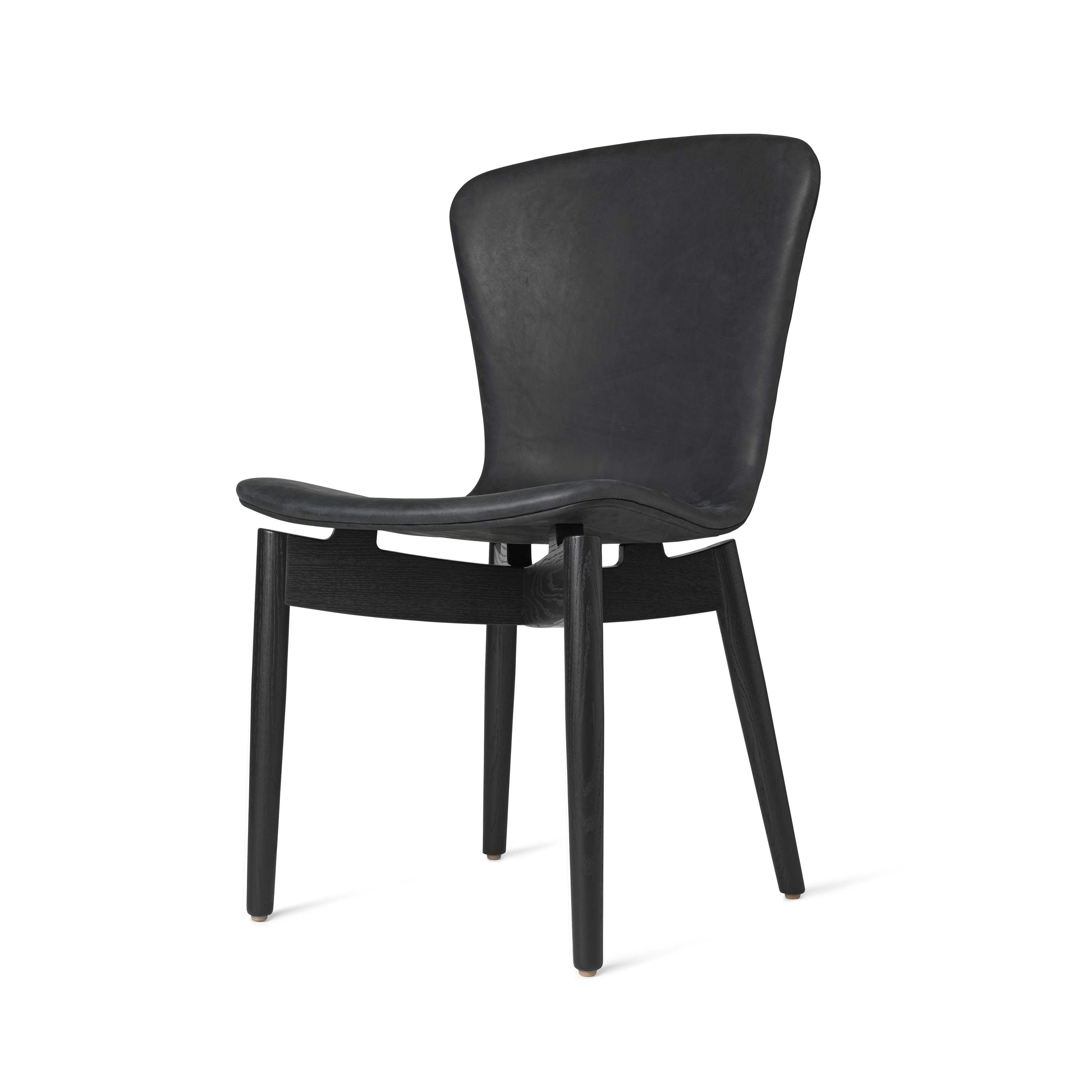 Shell Dining Chair: Black Stained Oak + Ultra Black Leather