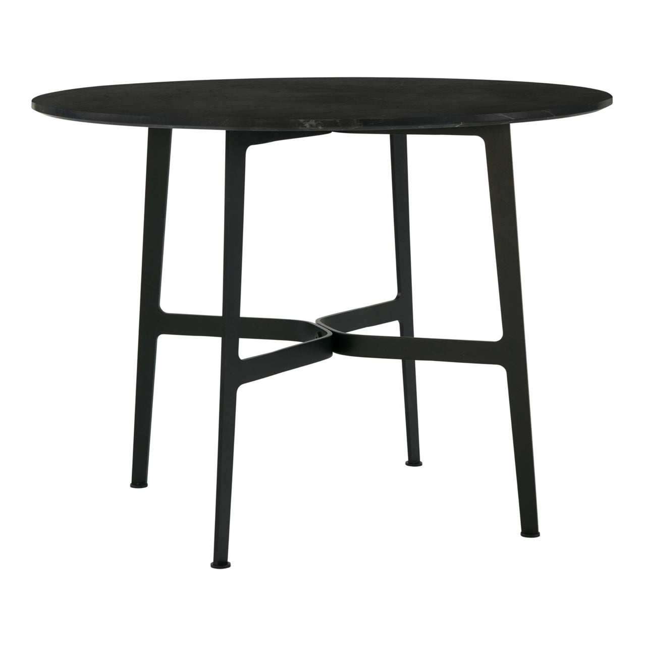 Eileen Circular Dining Table: Large + Black + Black Marble