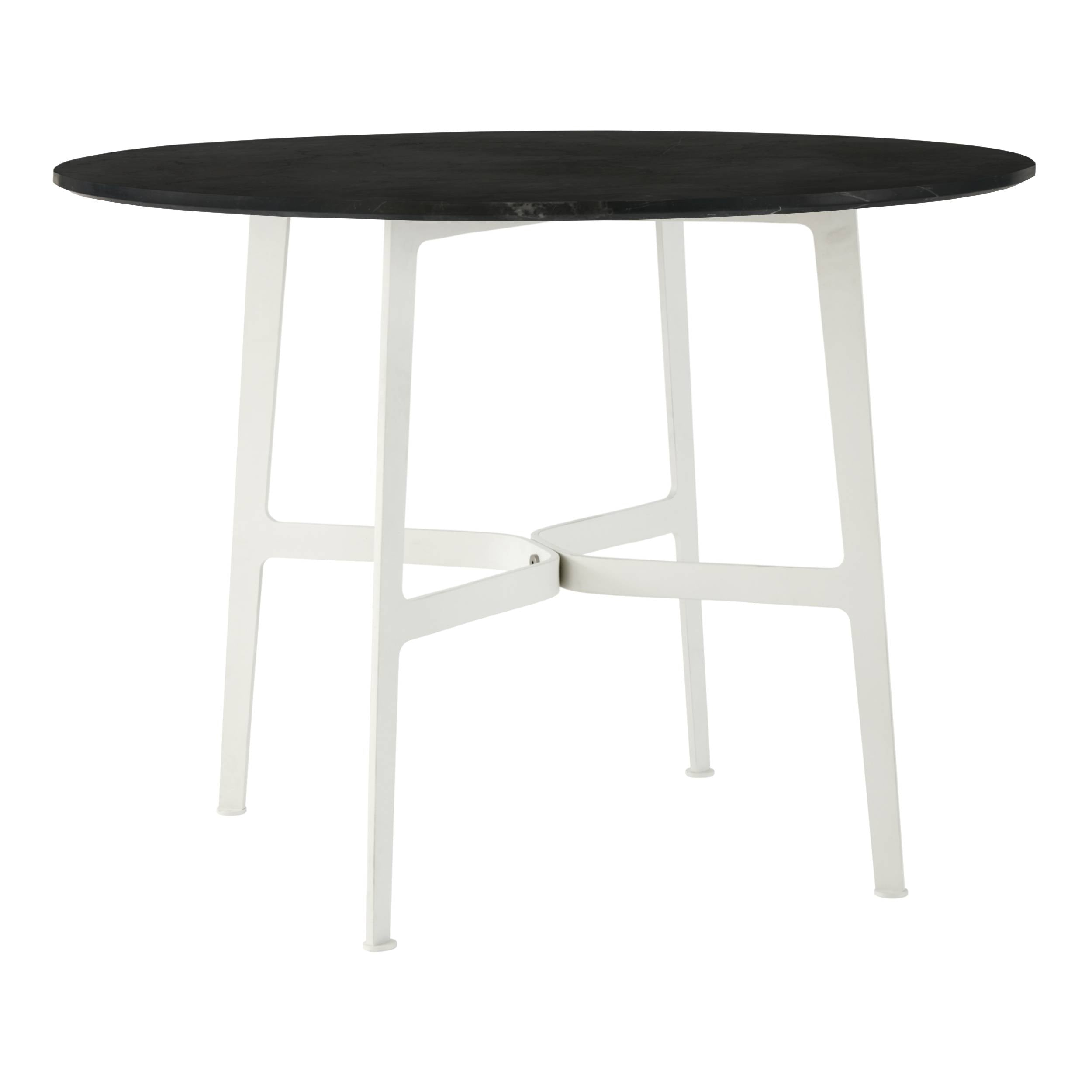 Eileen Circular Dining Table: Large + White + Black Marble