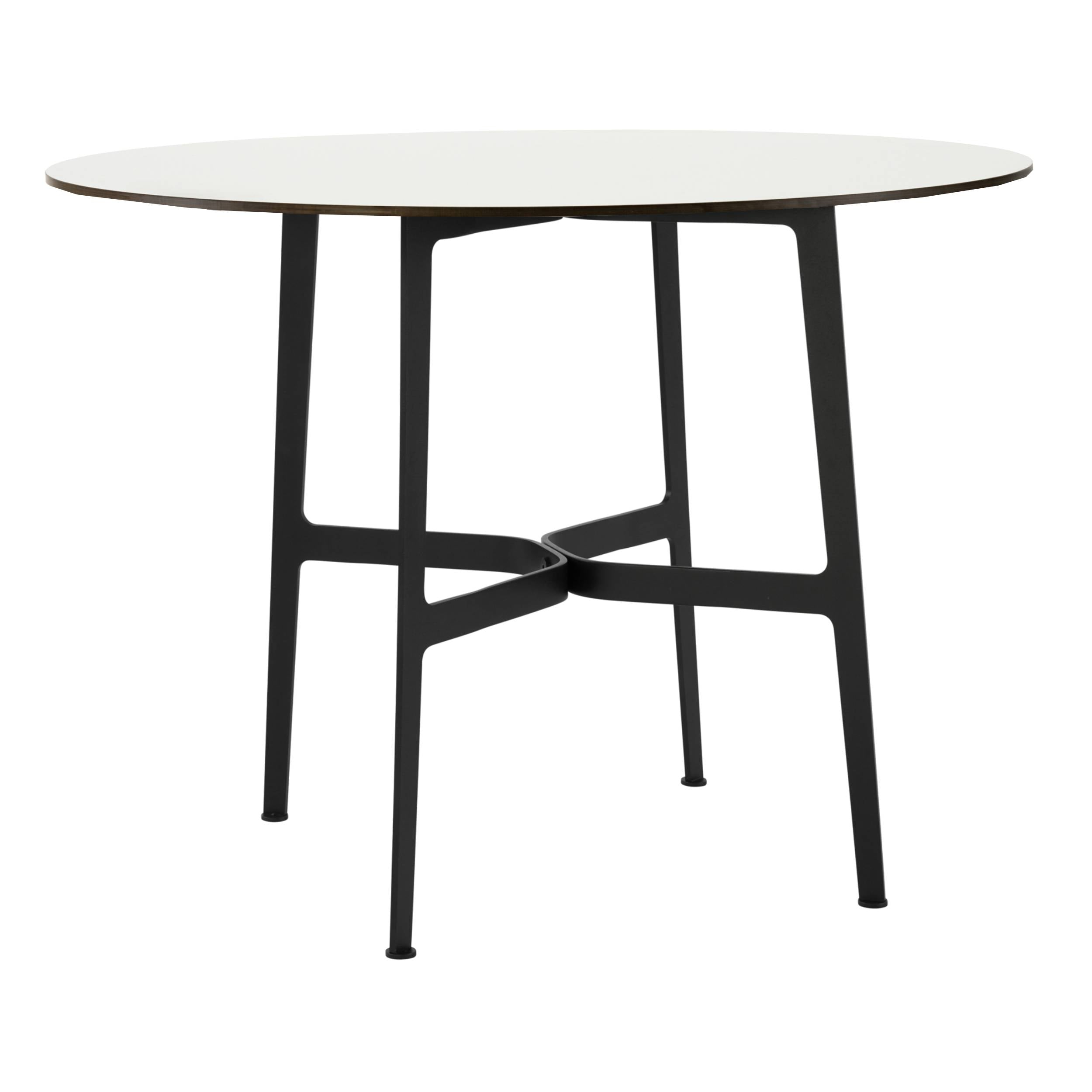 Eileen Circular Dining Table: Large + Black + White Laminate