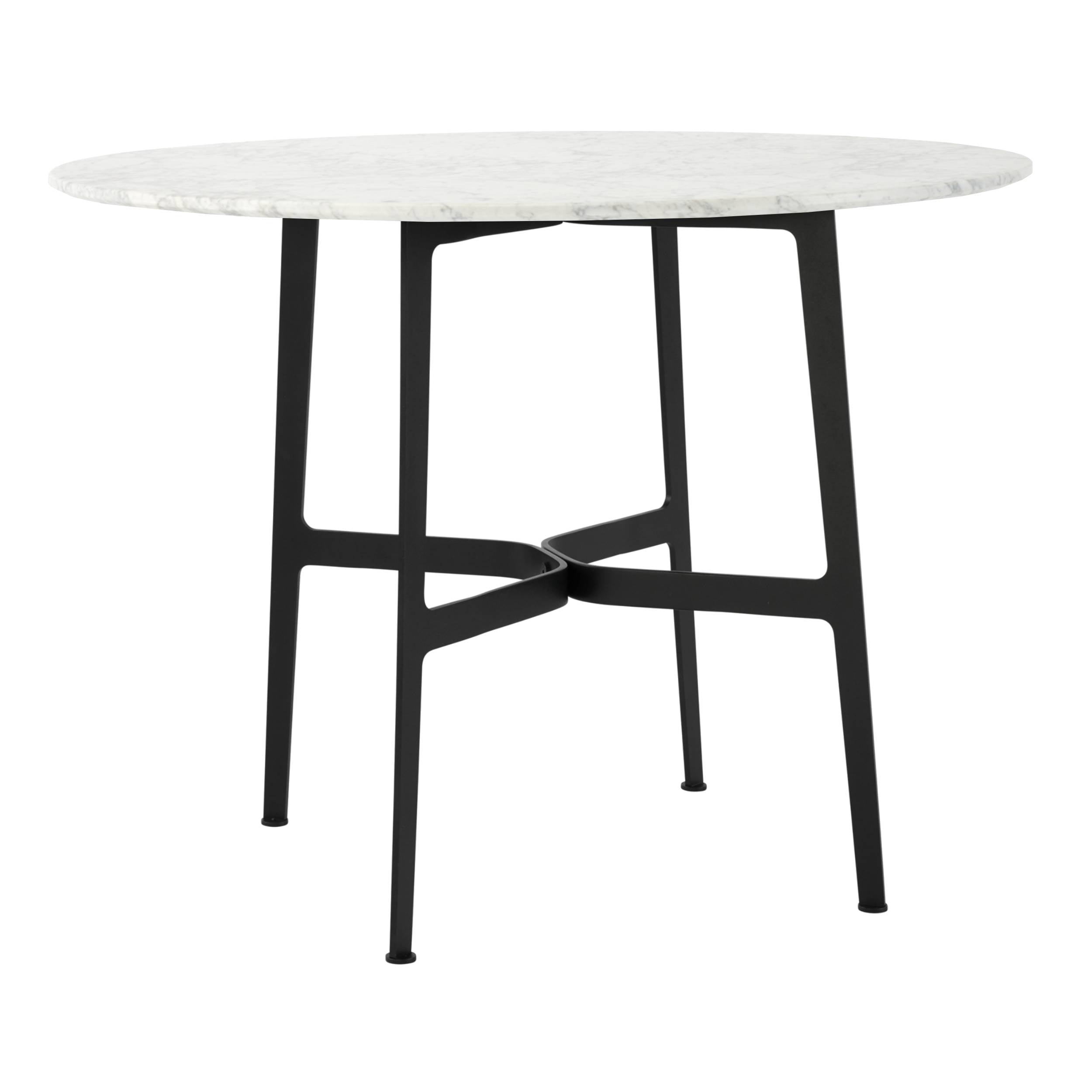 Eileen Circular Dining Table: Large + Black + White Marble