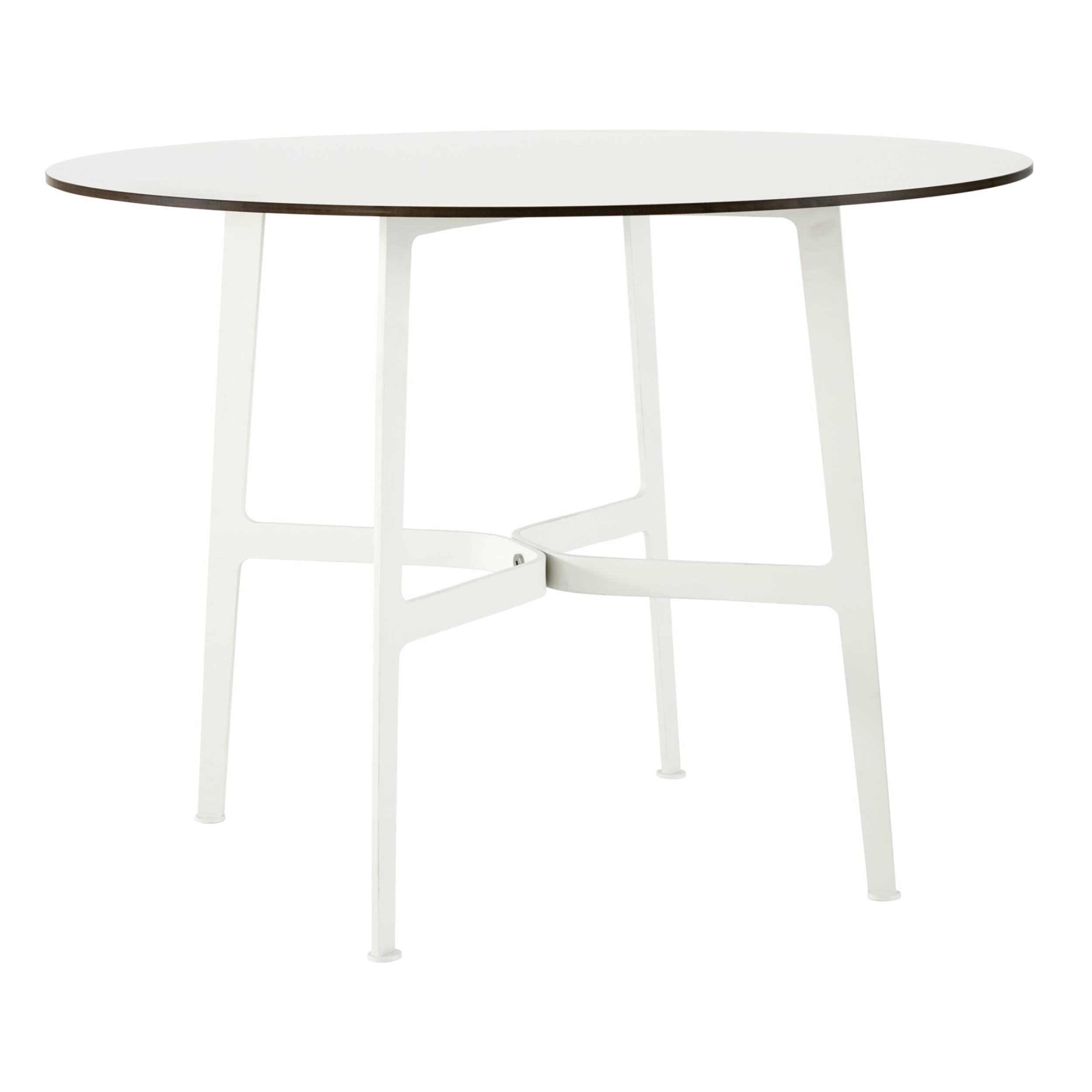 Eileen Circular Dining Table: Large + White + White Laminate