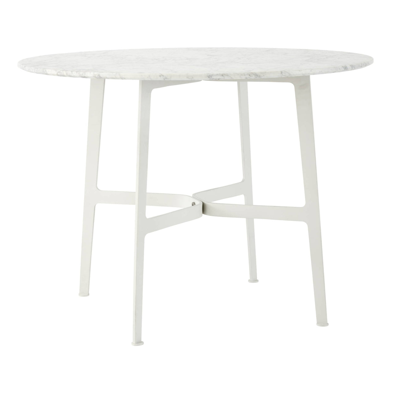 Eileen Circular Dining Table: Large + White + White Marble