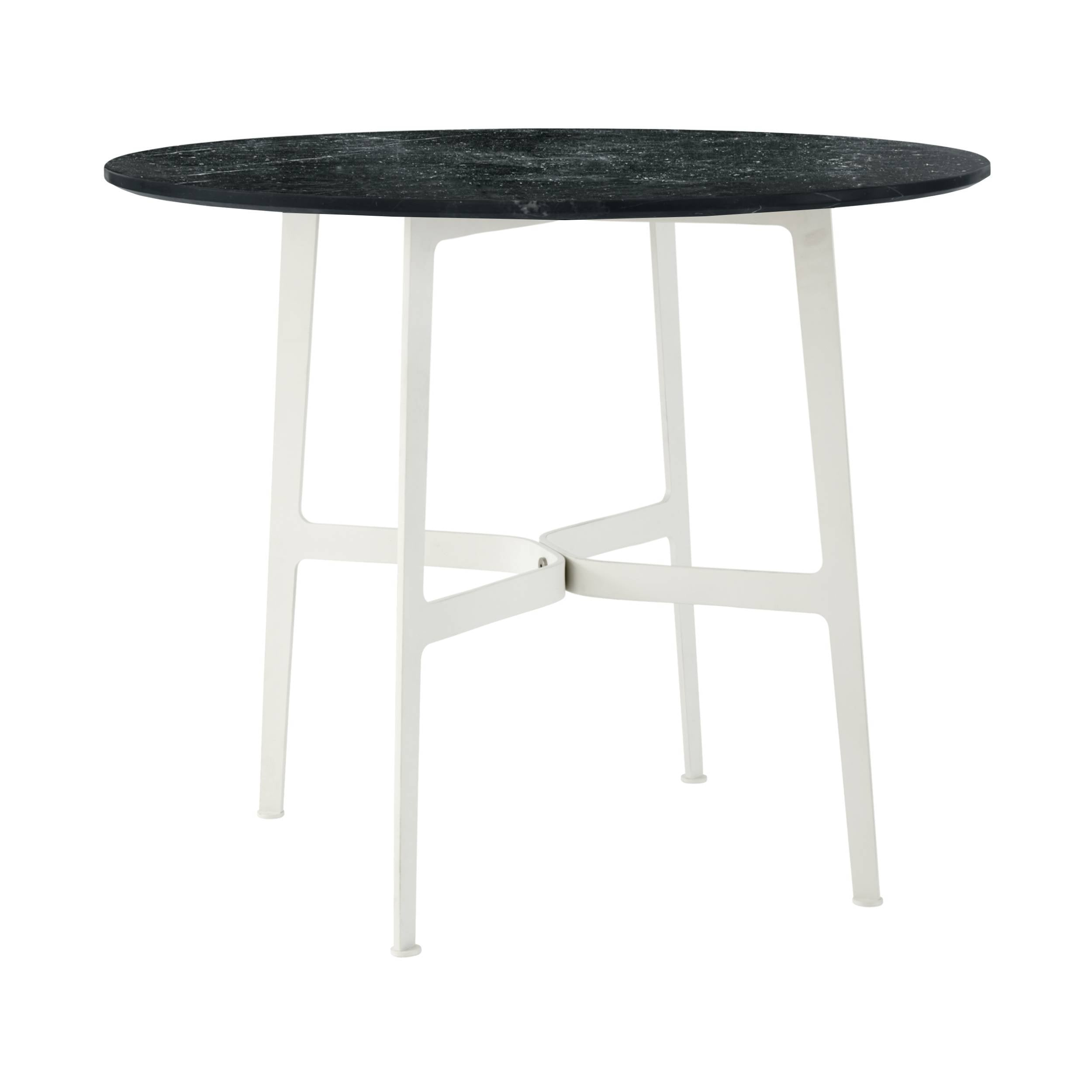Eileen Circular Dining Table: Small + White + Black Marble